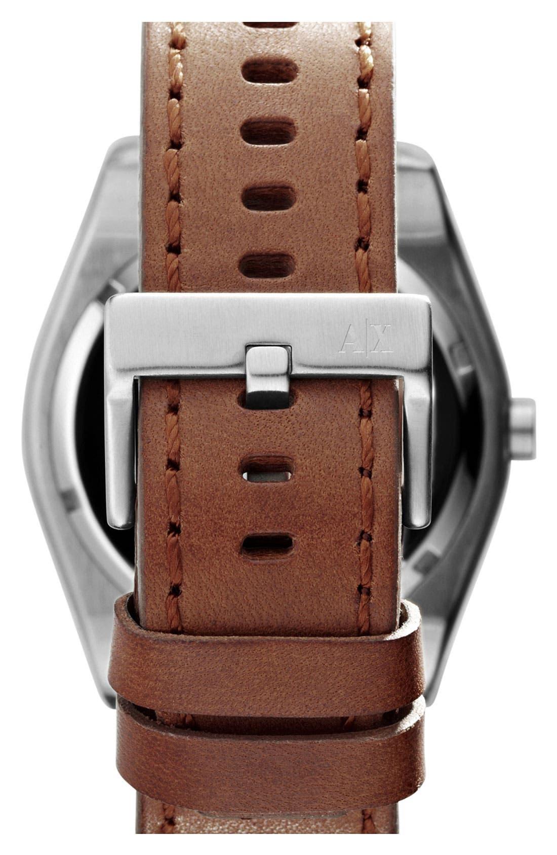 Alternate Image 3  - AX Armani Exchange Round Leather Strap Watch, 45mm