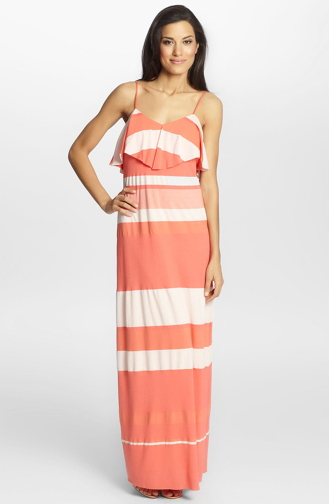 Alternate Image 1 Selected - Cynthia Steffe 'Bailey' Ruffled Stripe Maxi Dress