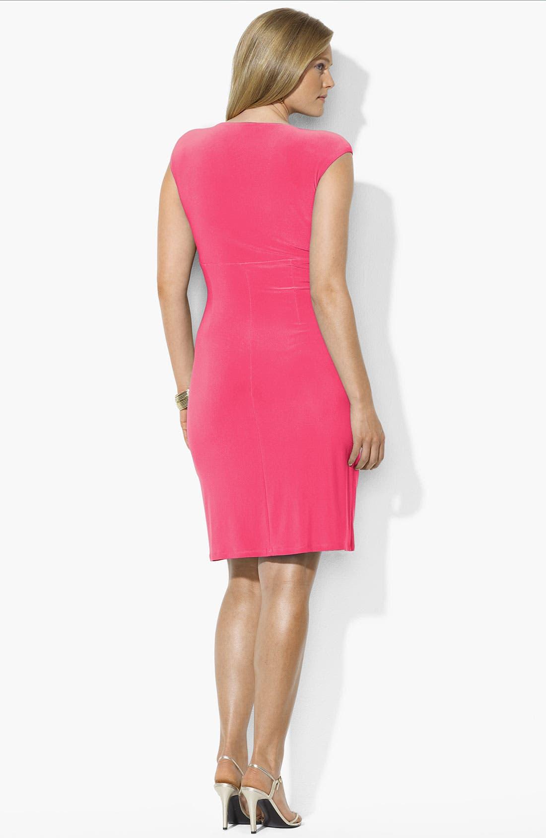 Alternate Image 3  - Lauren Ralph Lauren Ruched Jersey Dress (Plus Size) (Online Only)