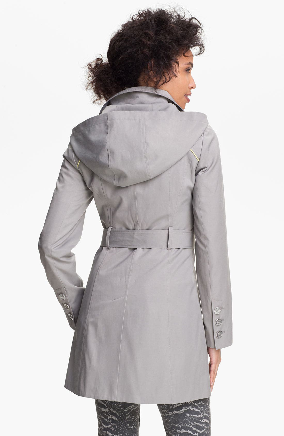 Alternate Image 2  - GUESS Hooded Double Breasted Trench Coat (Online Only)