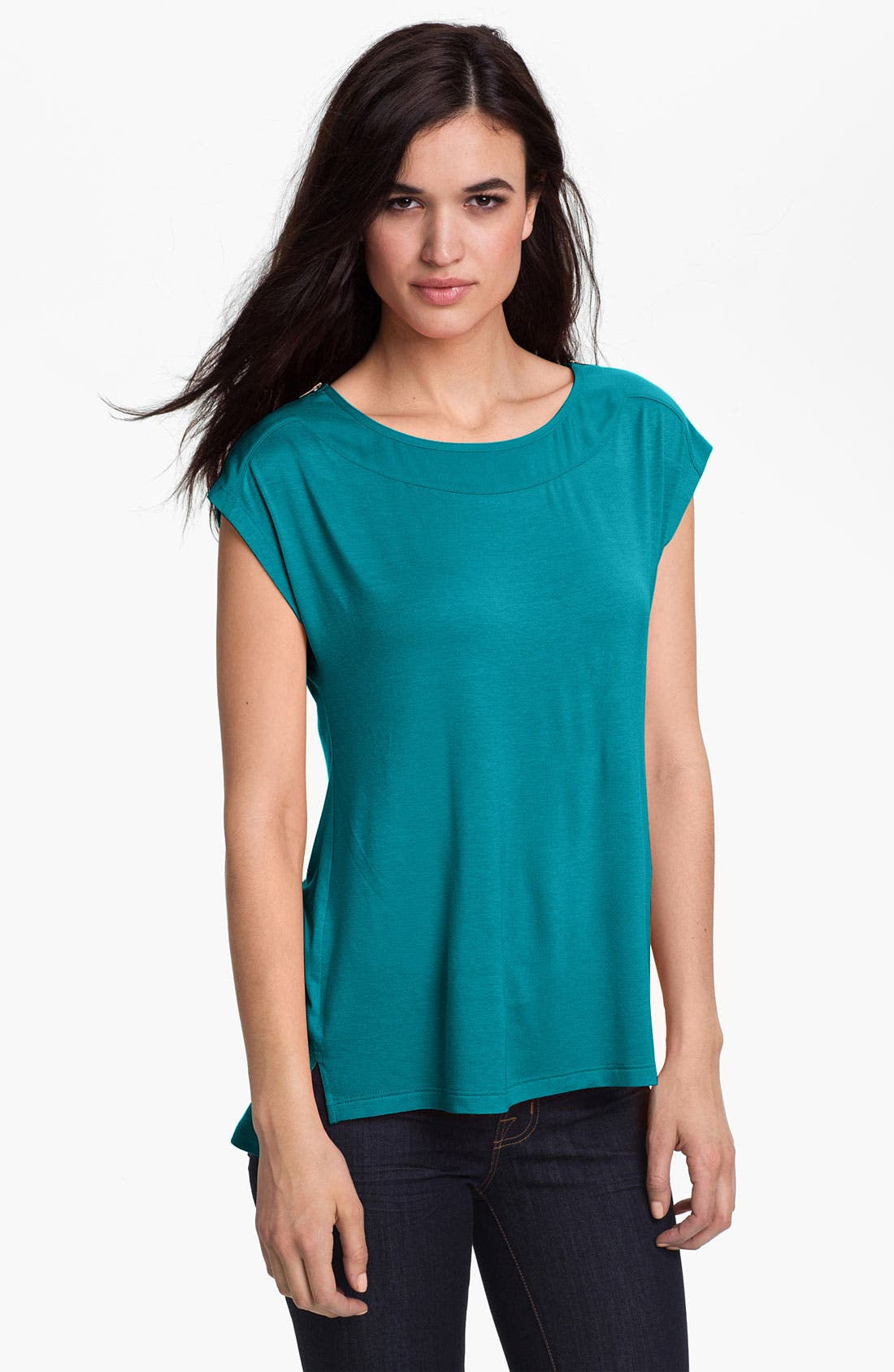 Alternate Image 1 Selected - Pleione Zip Shoulder Cap Sleeve Top