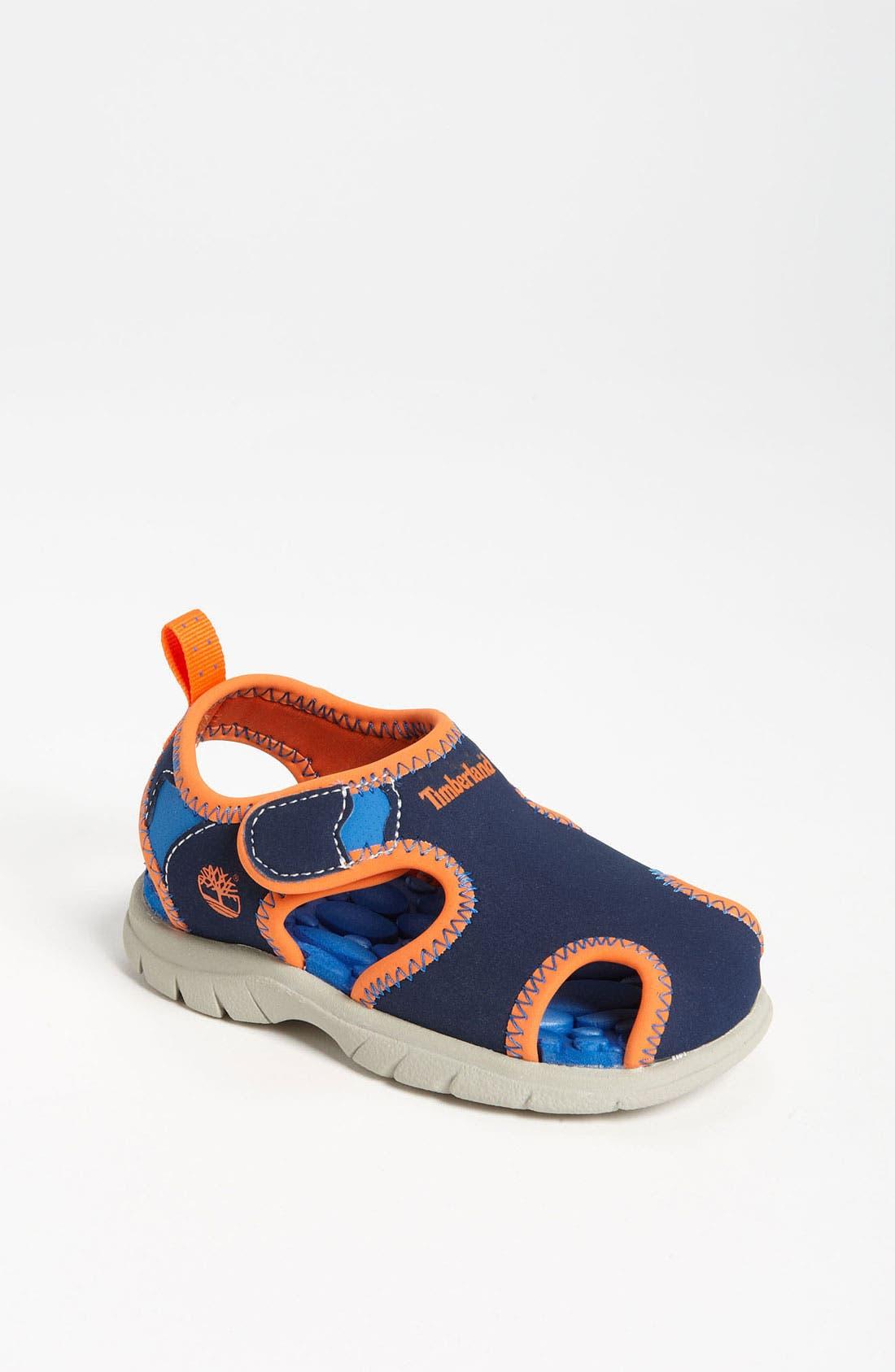 'Little Harbor' Sandal,                             Main thumbnail 1, color,                             Navy/ Orange