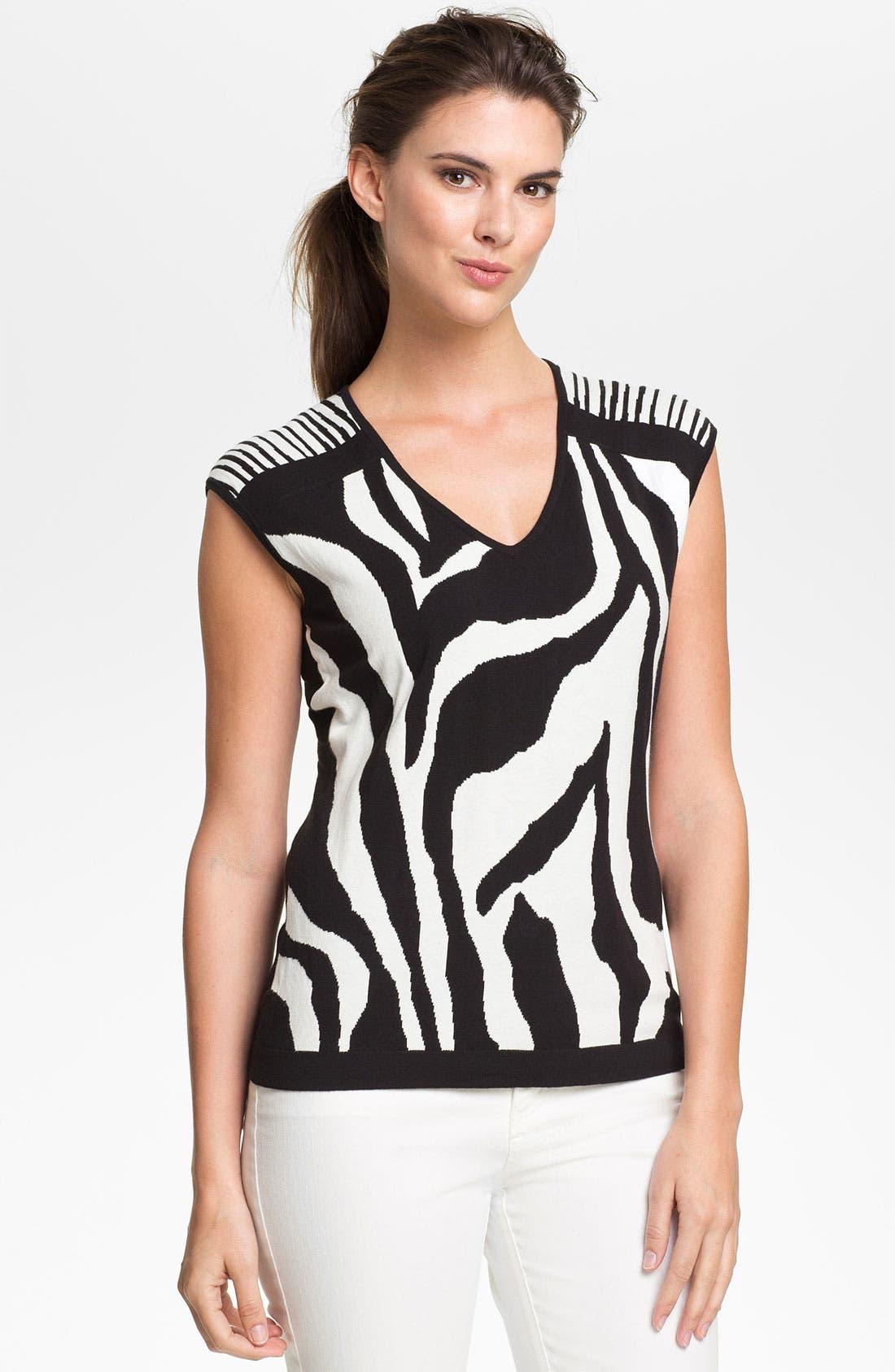 Alternate Image 1 Selected - Lafayette 148 New York Zebra Jacquard Sweater (Online Only)