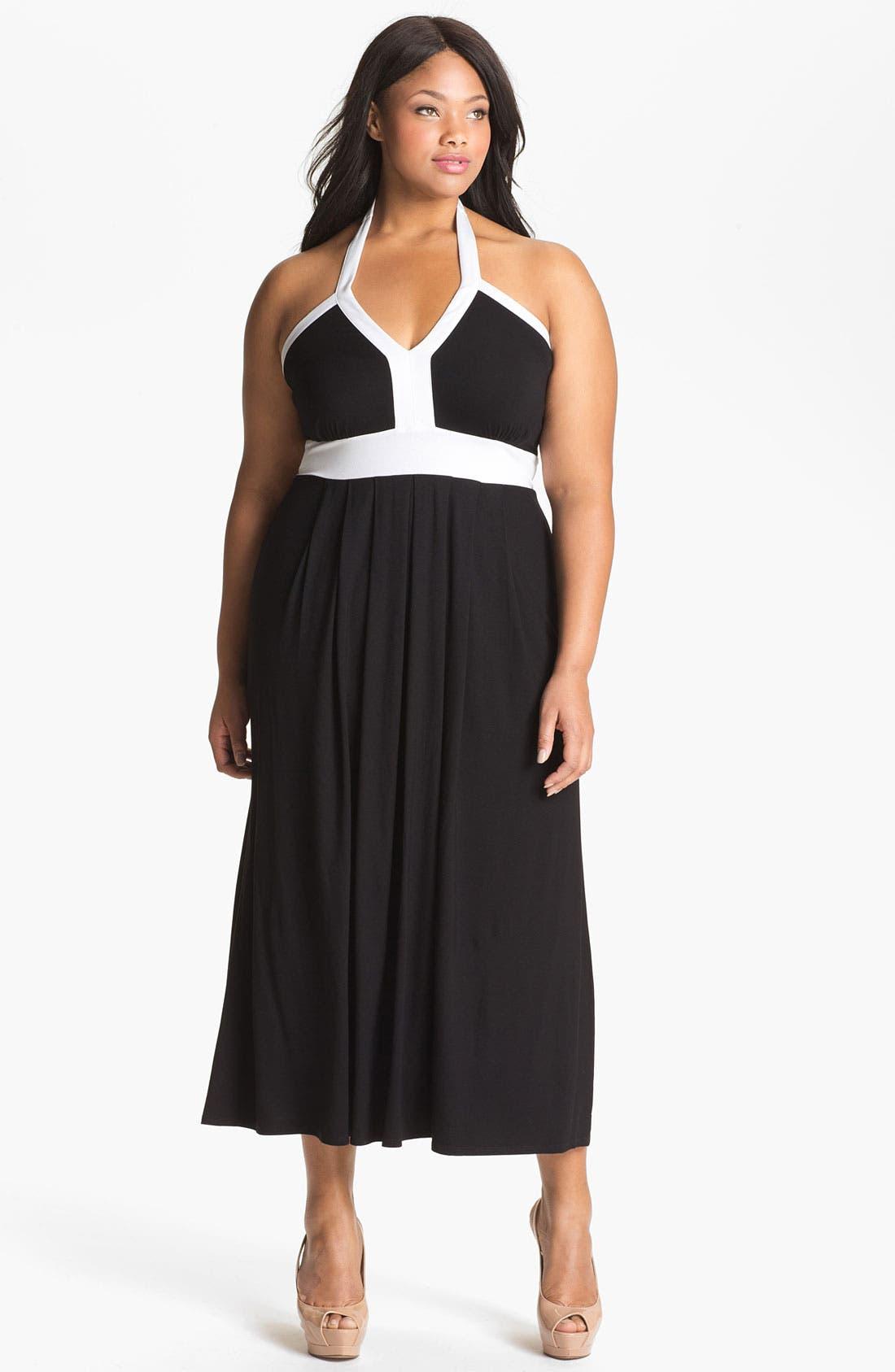 Alternate Image 1 Selected - Calvin Klein Halter Jersey Maxi Dress (Plus Size)