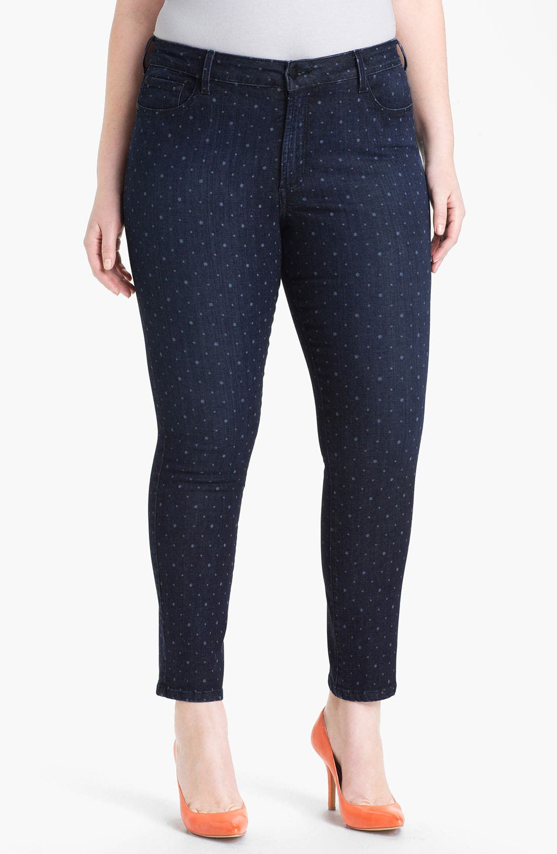 Alternate Image 1 Selected - NYDJ 'Sheri - Polka Dot' Print Skinny Ankle Jeans (Plus Size)