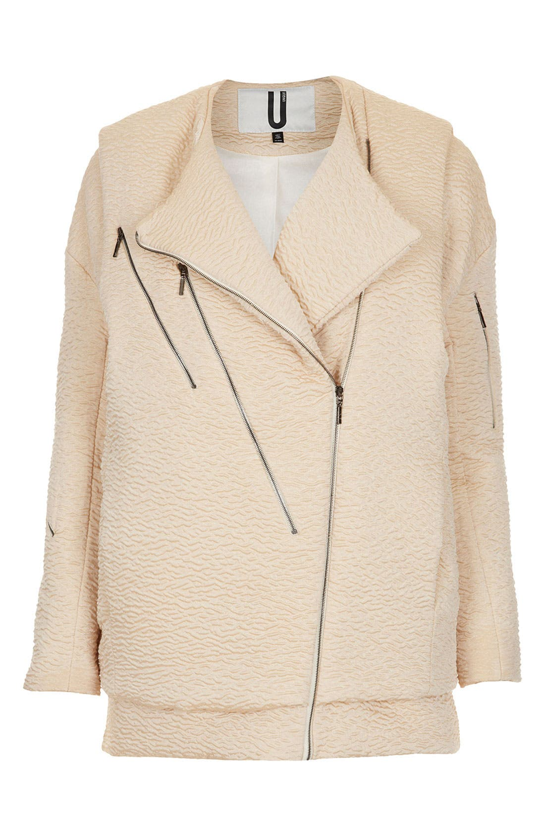 Unique Textured Biker Jacket,                         Main,                         color, Blush