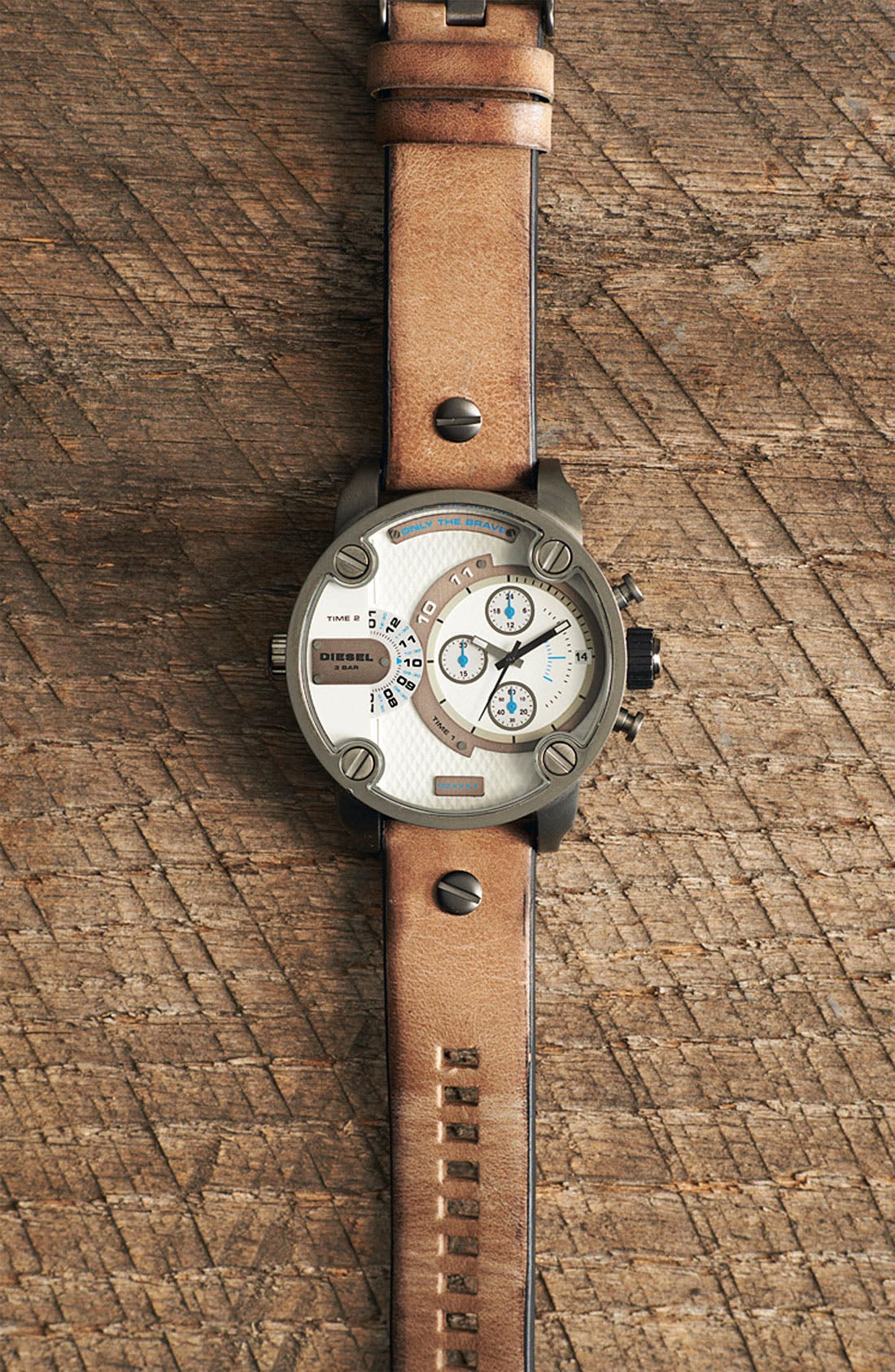 Alternate Image 4  - DIESEL® 'Little Daddy' Chronograph Leather Strap Watch, 51mm