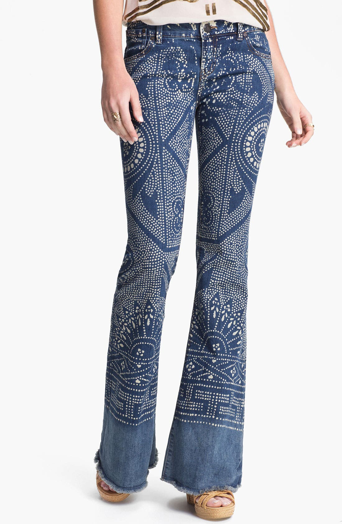 Alternate Image 1 Selected - Free People 'Bali' Print Flare Leg Jeans (Malaya)