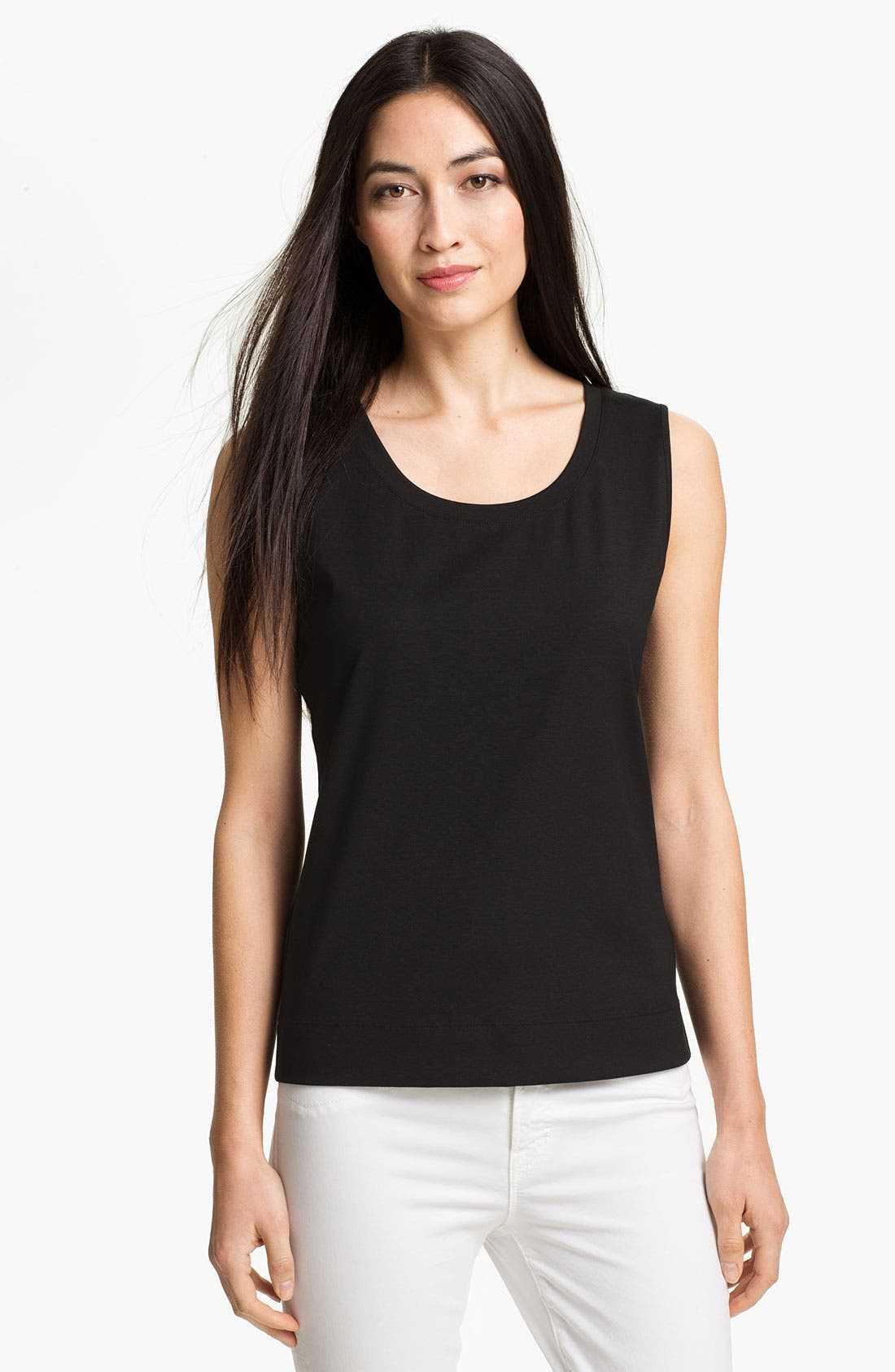 Main Image - Lafayette 148 New York Stretch Swiss Cotton Rib Tank (Online Exclusive)