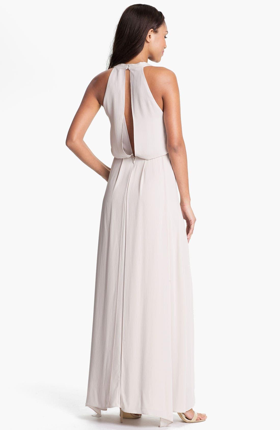 Alternate Image 2  - BCBGMAXAZRIA Front Drape Chiffon Gown
