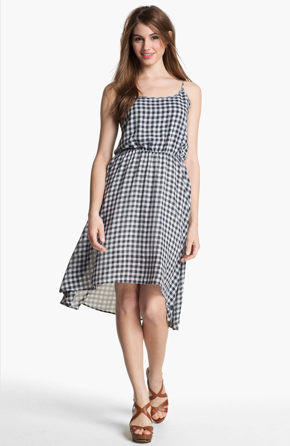 Main Image - Two by Vince Camuto Plaid High/Low Dress