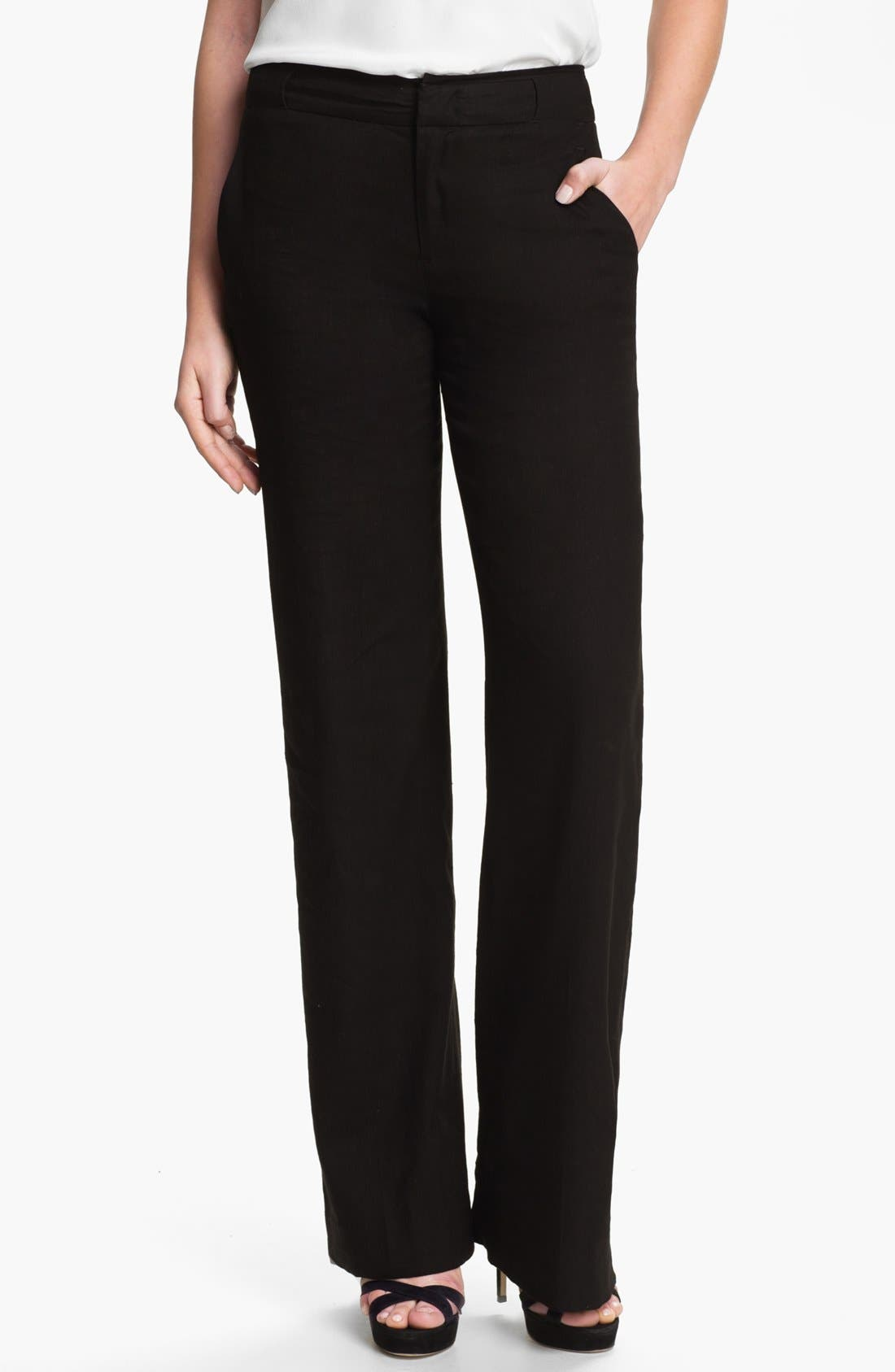 Alternate Image 1 Selected - Vince Linen Wide Leg Trousers