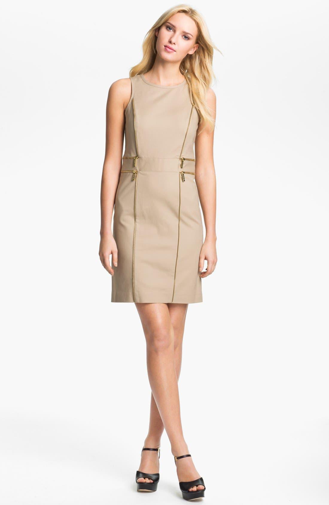 Alternate Image 1 Selected - MICHAEL Michael Kors Zip Trim Sheath Dress (Petite)