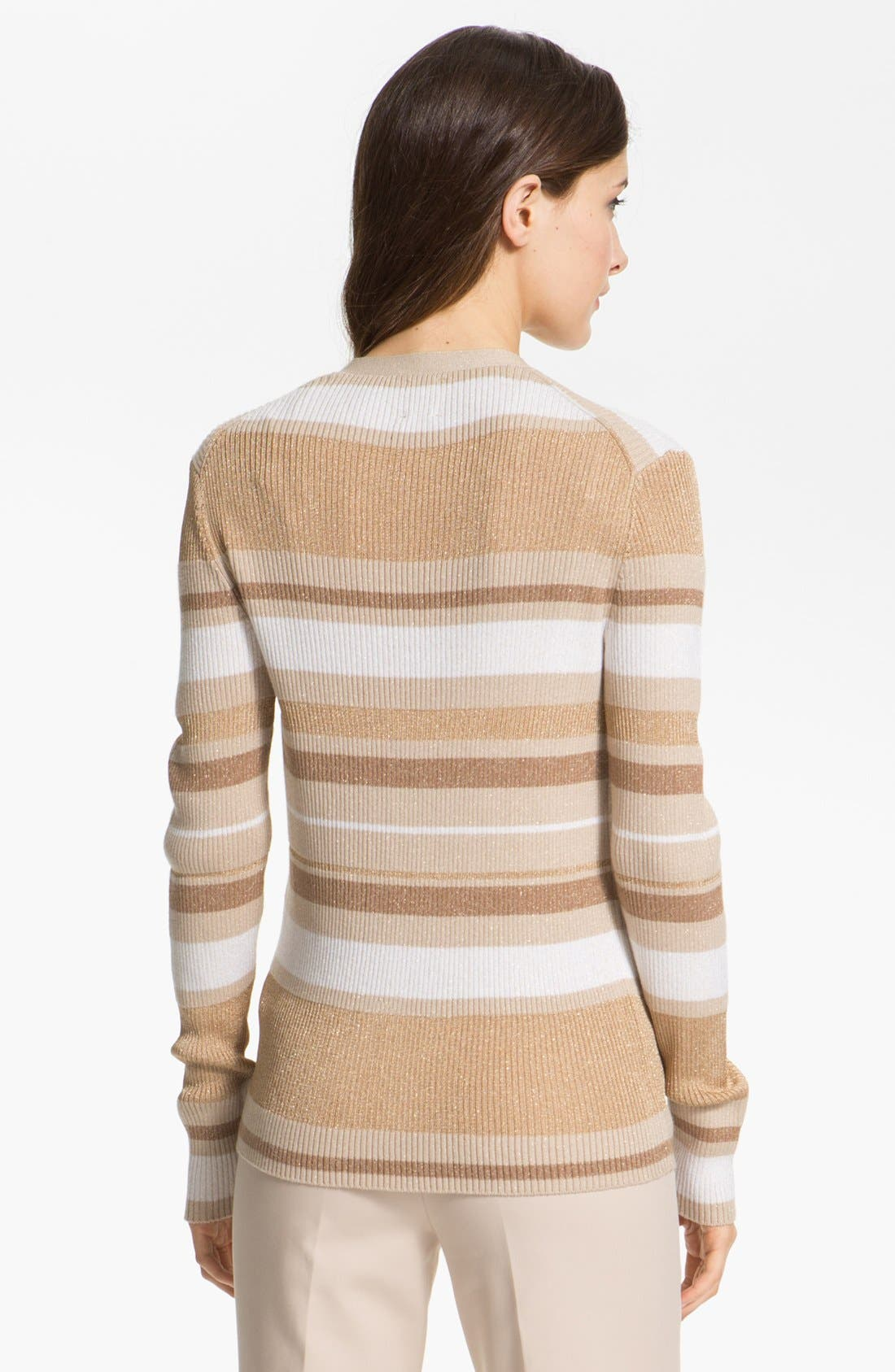 Alternate Image 3  - Anne Klein Stripe V-Neck Cardigan