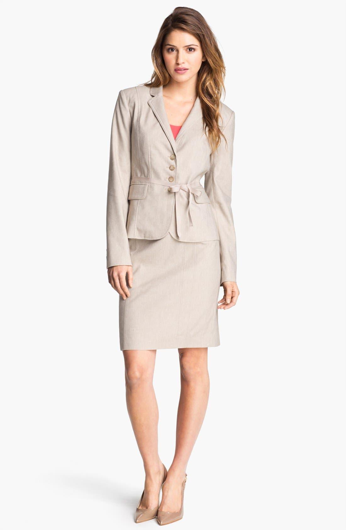 Alternate Image 1 Selected - Halogen® Belted Herringbone Jacket