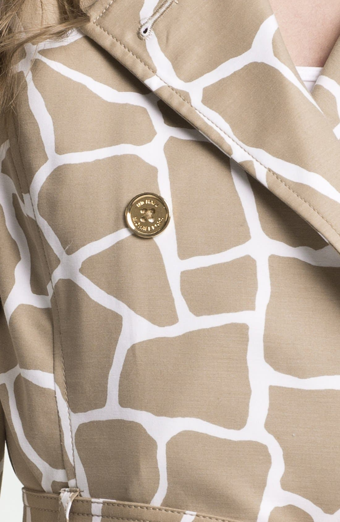 Alternate Image 3  - MICHAEL Michael Kors Giraffe Print Trench Coat (Petite)
