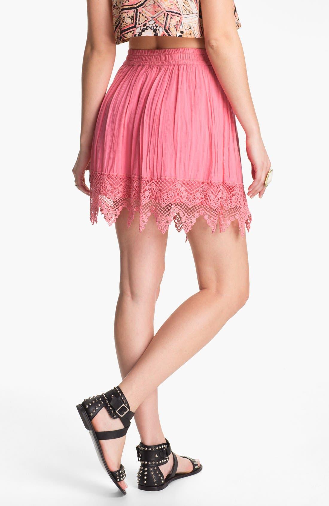 Alternate Image 2  - Frenchi® Crochet Trim Skirt (Juniors)