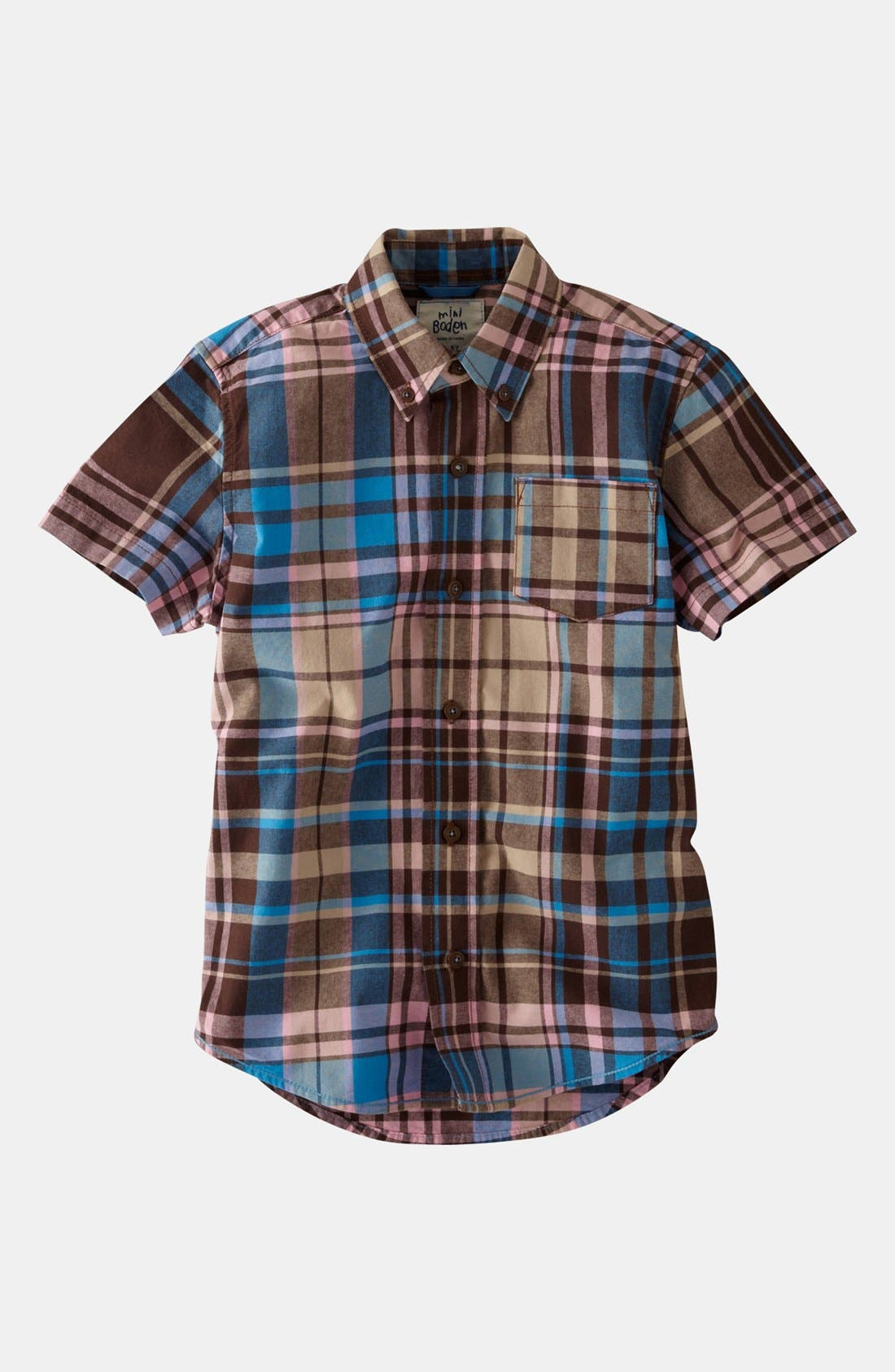 Alternate Image 1 Selected - Mini Boden 'Summer Check' Shirt (Little Boys & Big Boys)