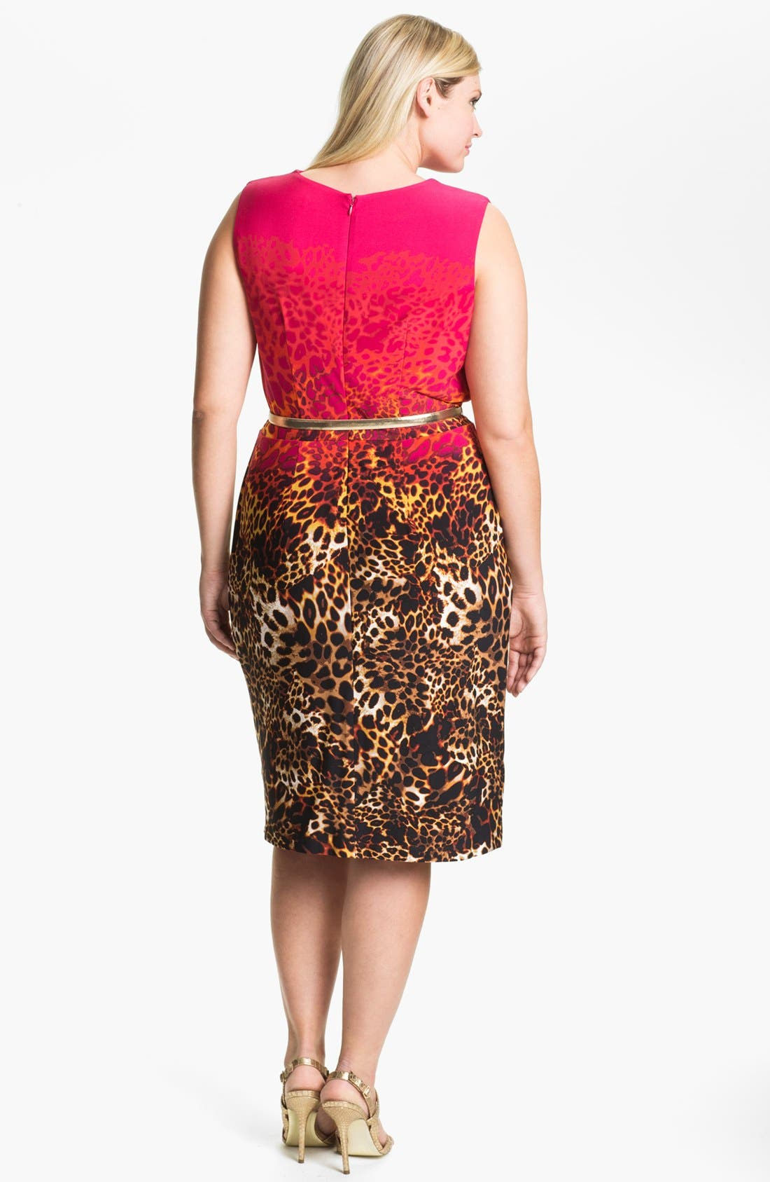 Alternate Image 2  - Calvin Klein Cowl Neck Print Sheath Dress (Plus Size)