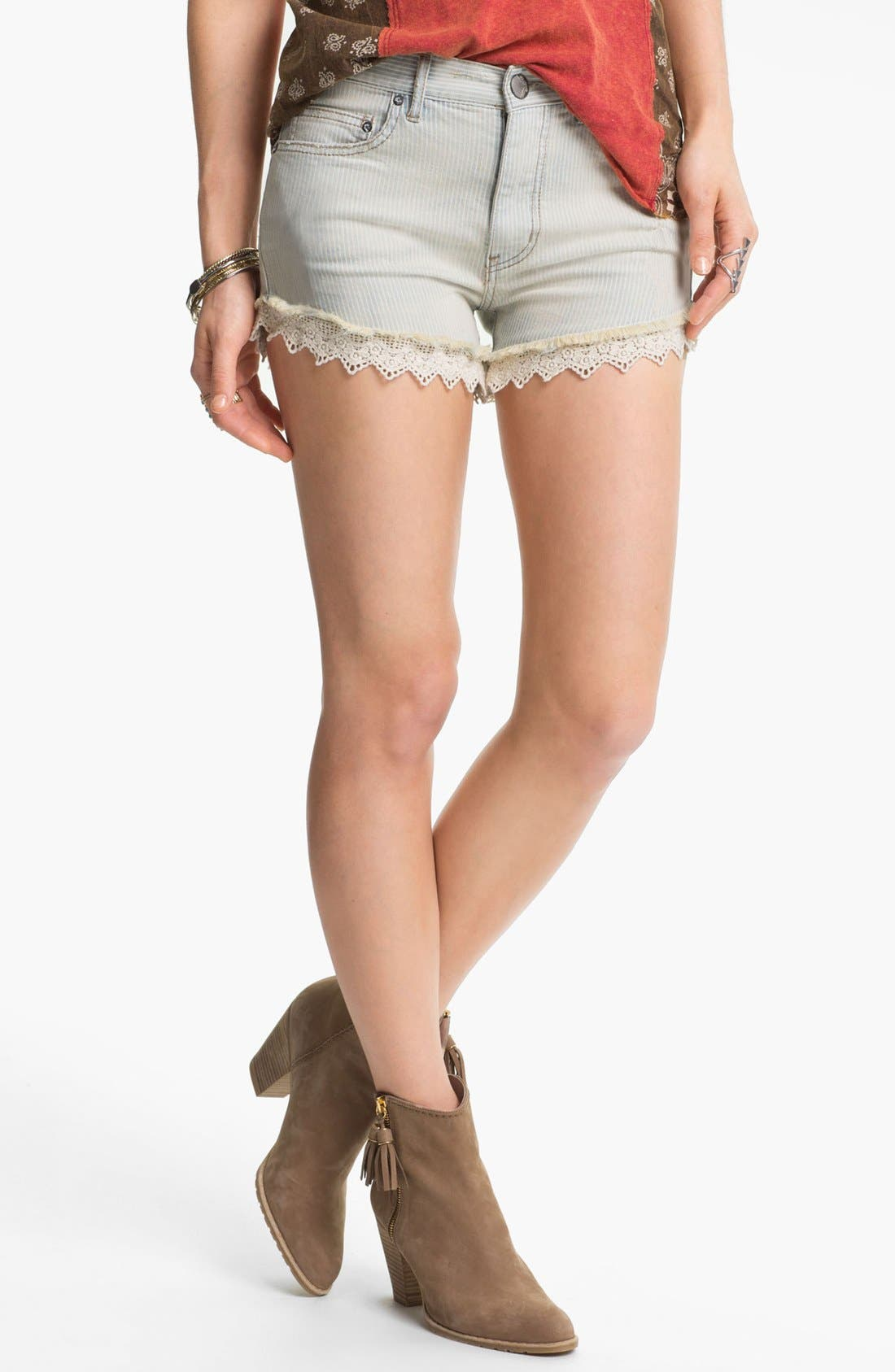Alternate Image 1 Selected - Free People Lace Trim Railroad Stripe Cutoff Shorts (Pacific)