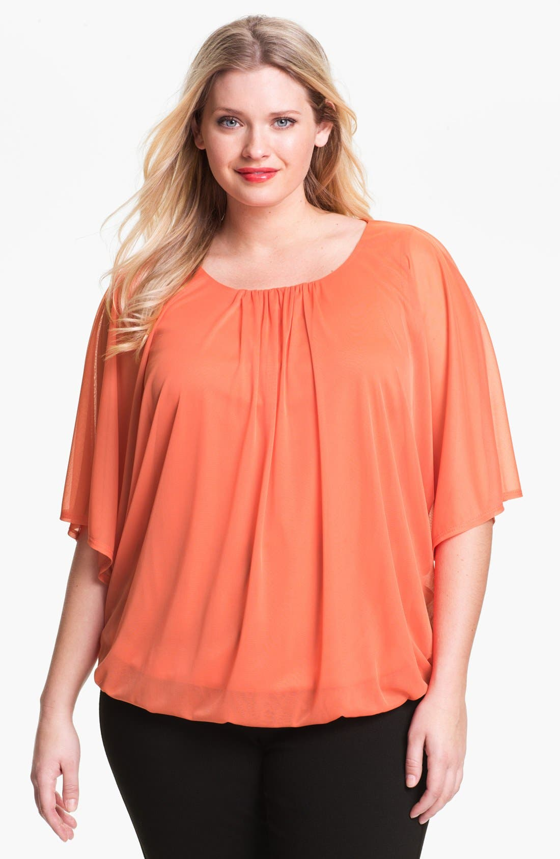 Alternate Image 1 Selected - Evans Mesh Bubble Top (Plus Size)