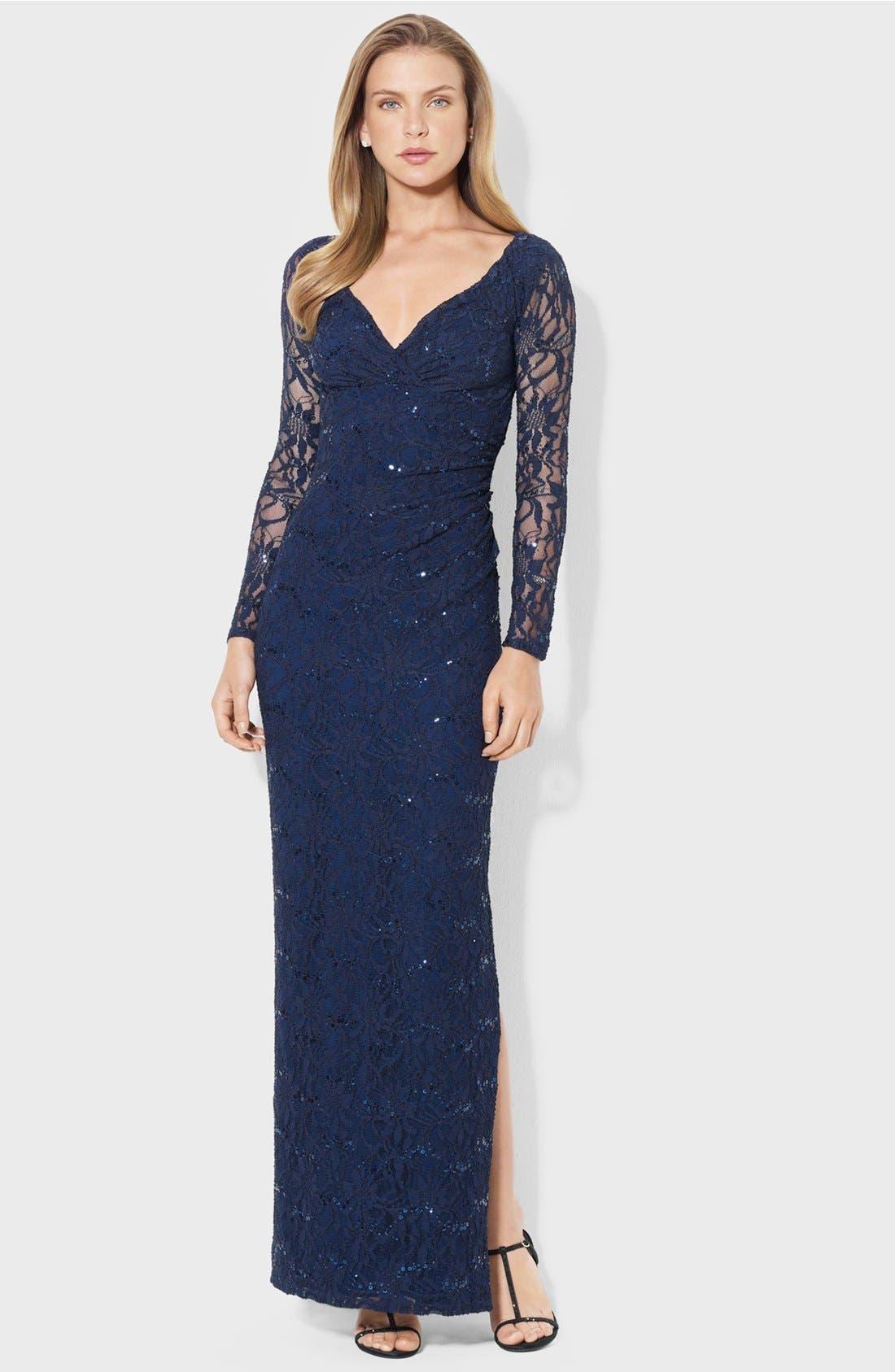 Main Image - Lauren Ralph Lauren Illusion Sleeve Lace Gown (Petite)