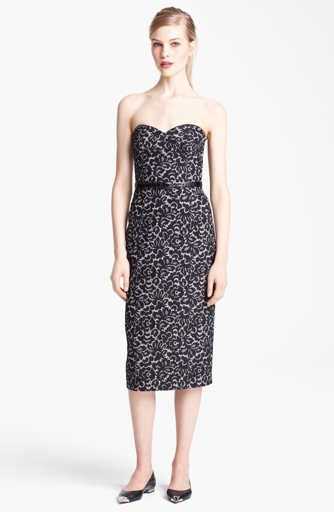 Alternate Image 1 Selected - Michael Kors Strapless Featherweight Lace Jacquard Dress