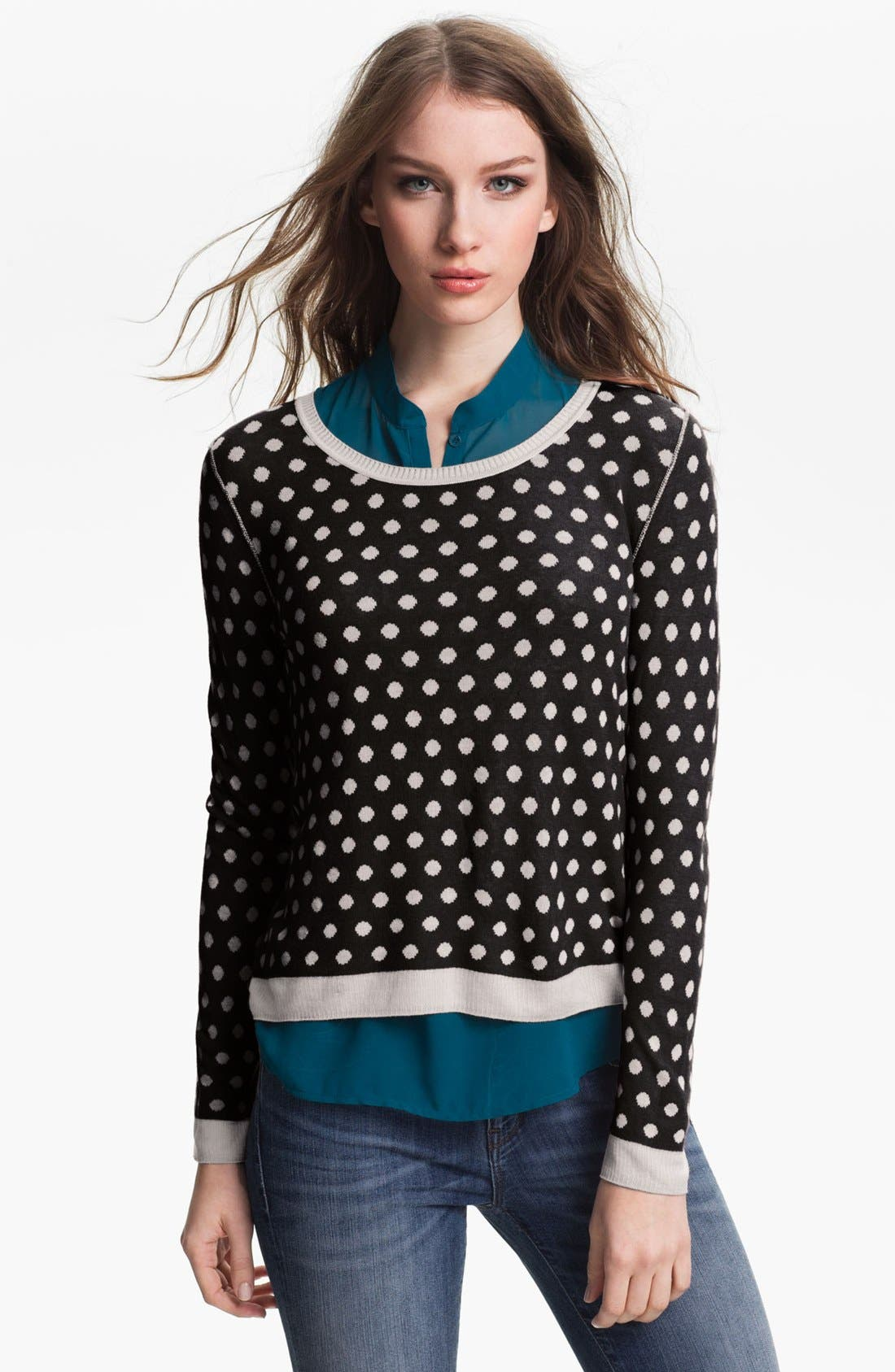 Alternate Image 3  - Kensie Reversible Dot Sweater