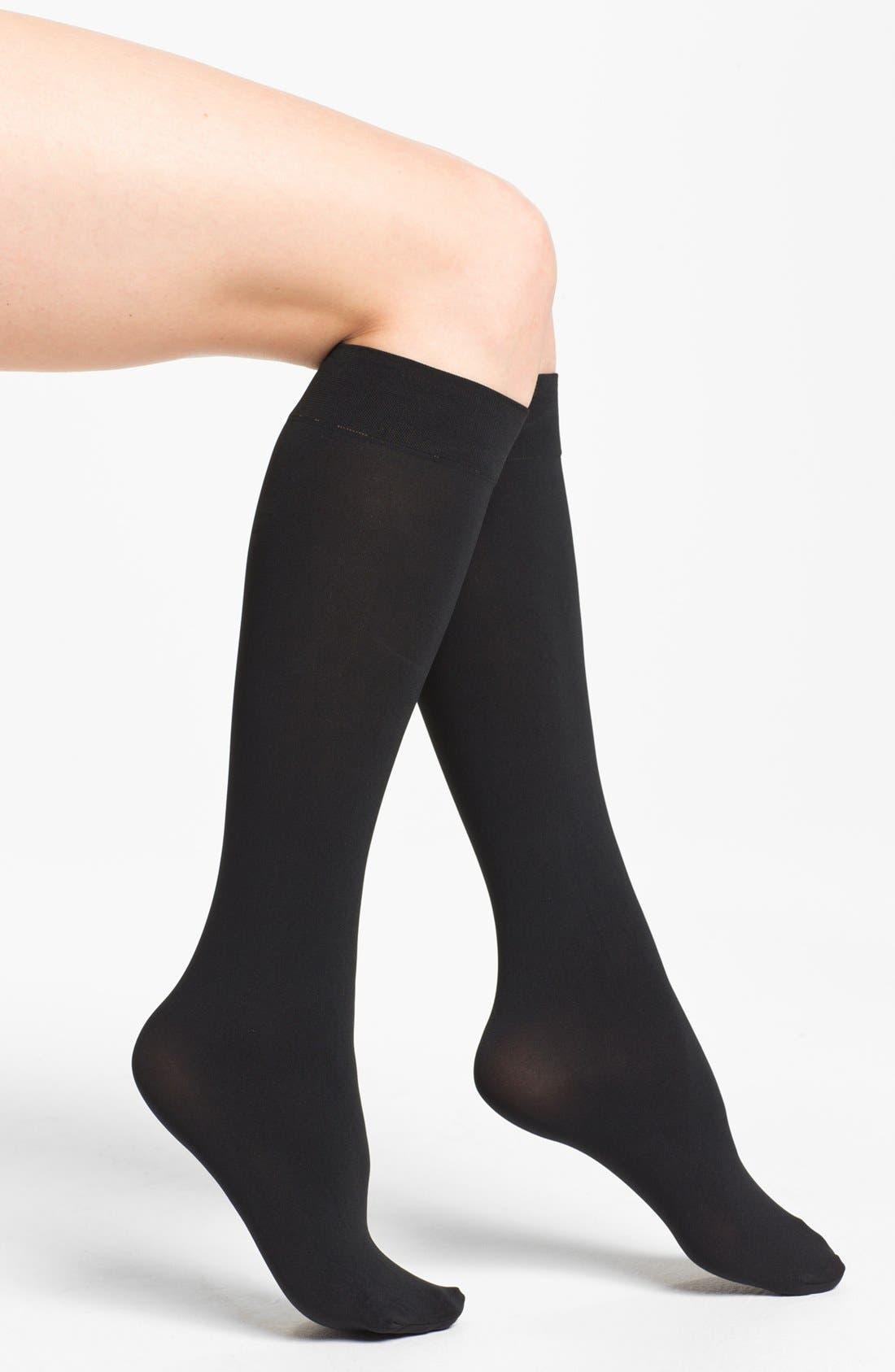 Alternate Image 1 Selected - DKNY Opaque Microfiber Knee Highs