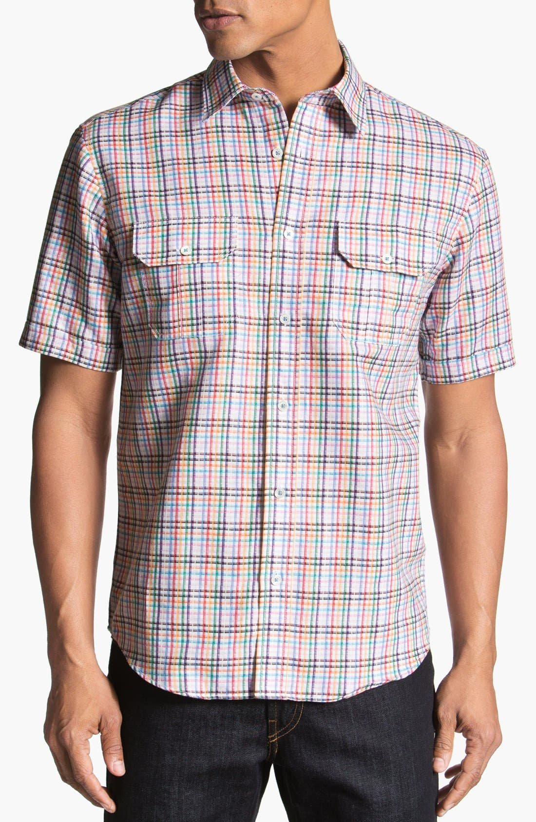 Alternate Image 1 Selected - BUGATCHI Shaped Fit Short Sleeve Linen Sport Shirt