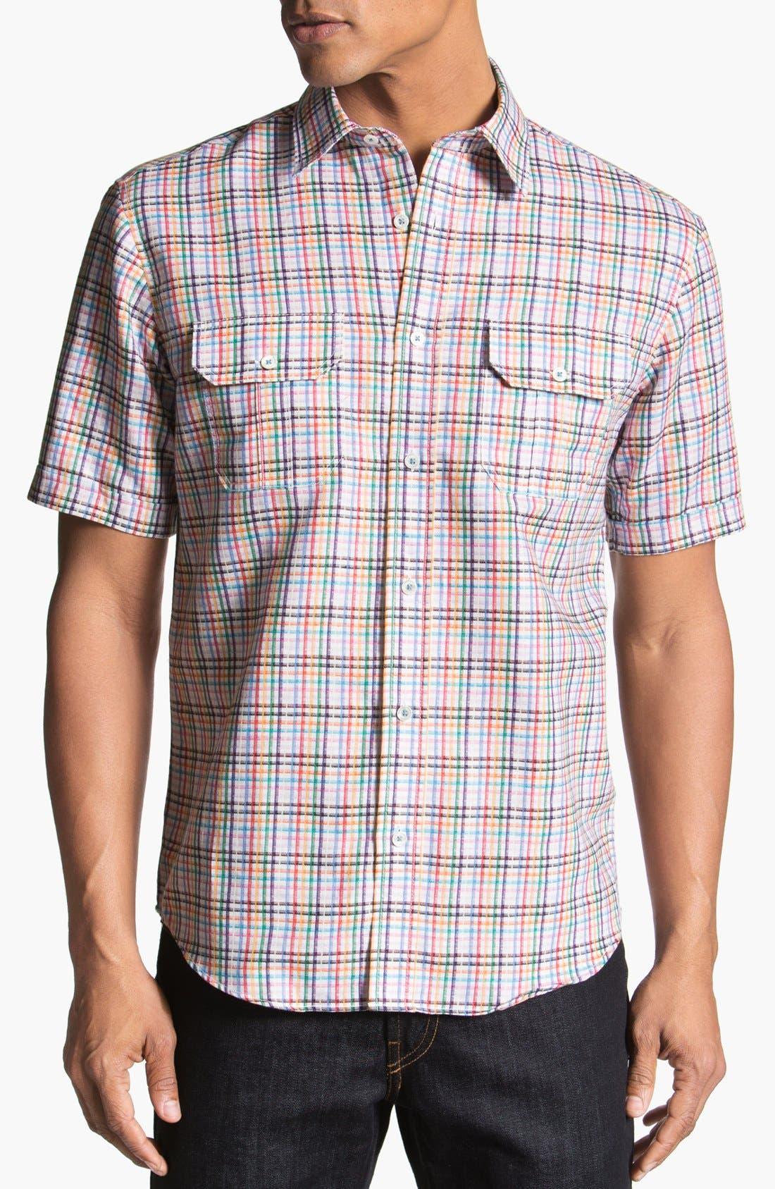 Main Image - BUGATCHI Shaped Fit Short Sleeve Linen Sport Shirt