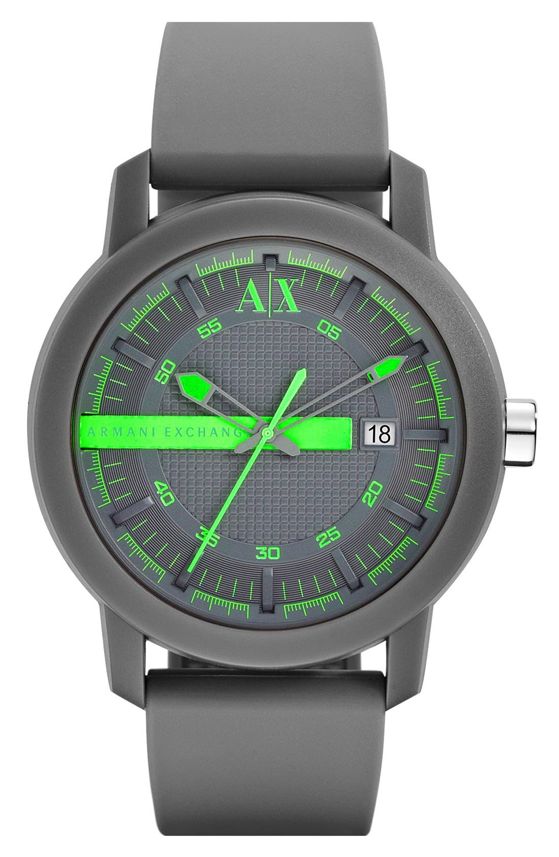 Main Image - AX Armani Exchange Logo Bar Silicone Strap Watch, 44mm