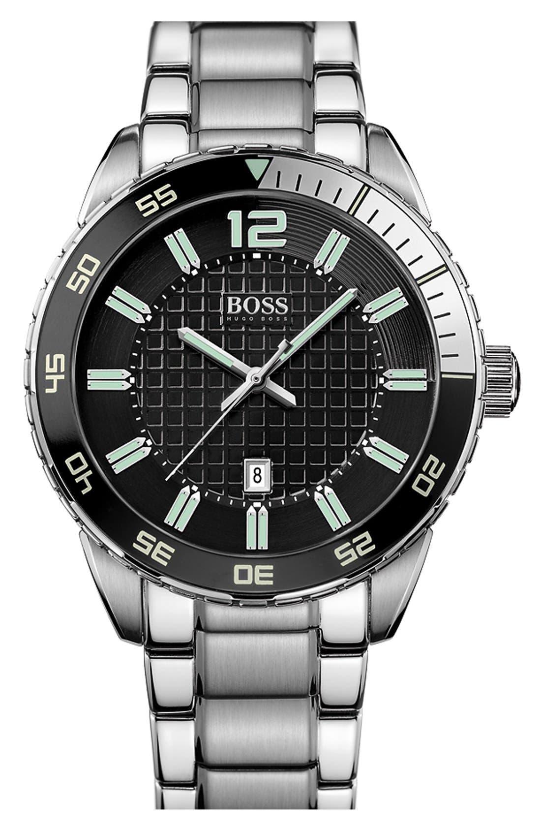 Alternate Image 1 Selected - BOSS 'Deep Blue' Round Bracelet Watch, 46mm
