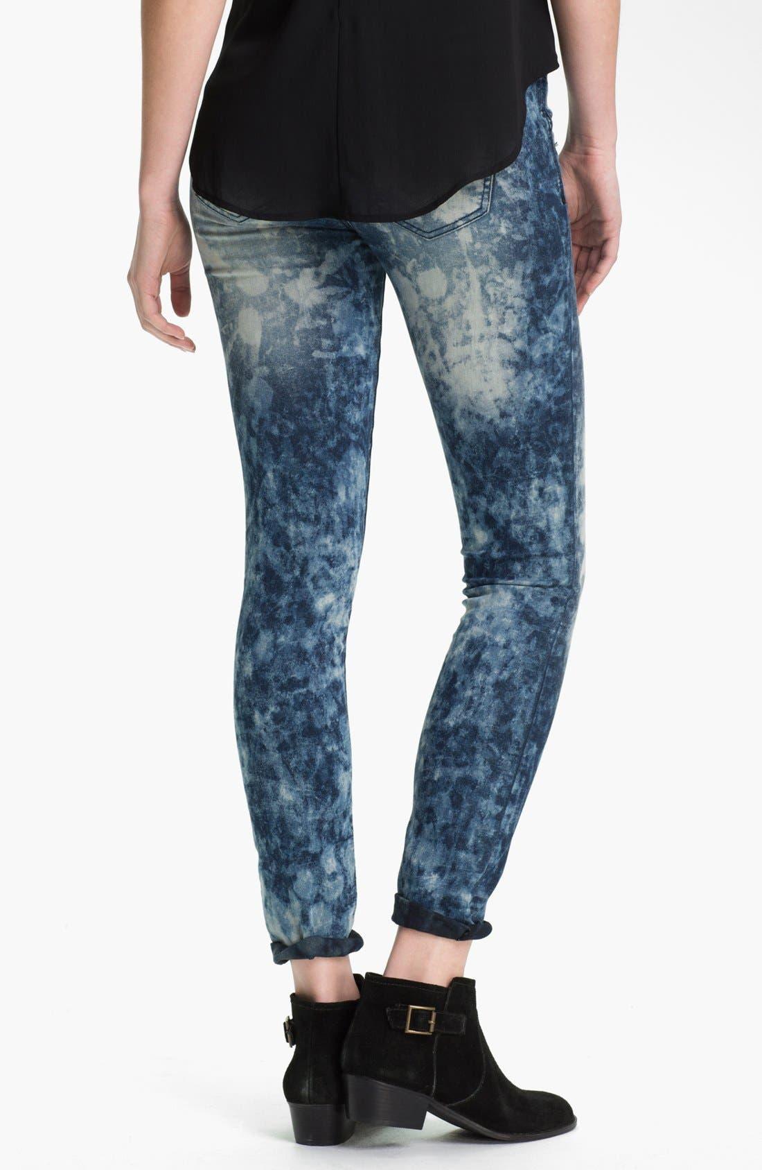 Alternate Image 3  - Fire Acid Marble Skinny Biker Jeans (Juniors)