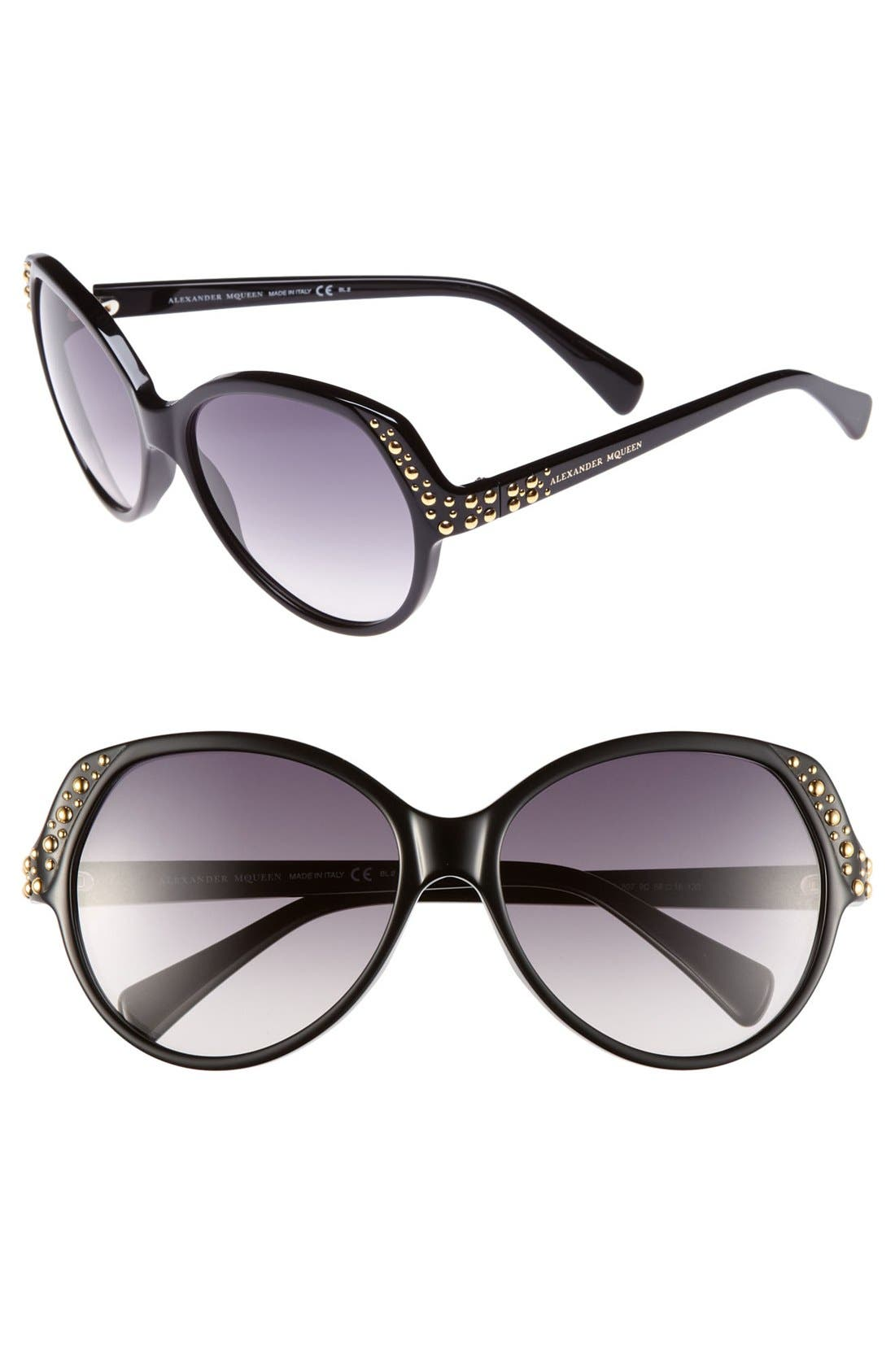 Main Image - Alexander McQueen 58mm Studded Sunglasses