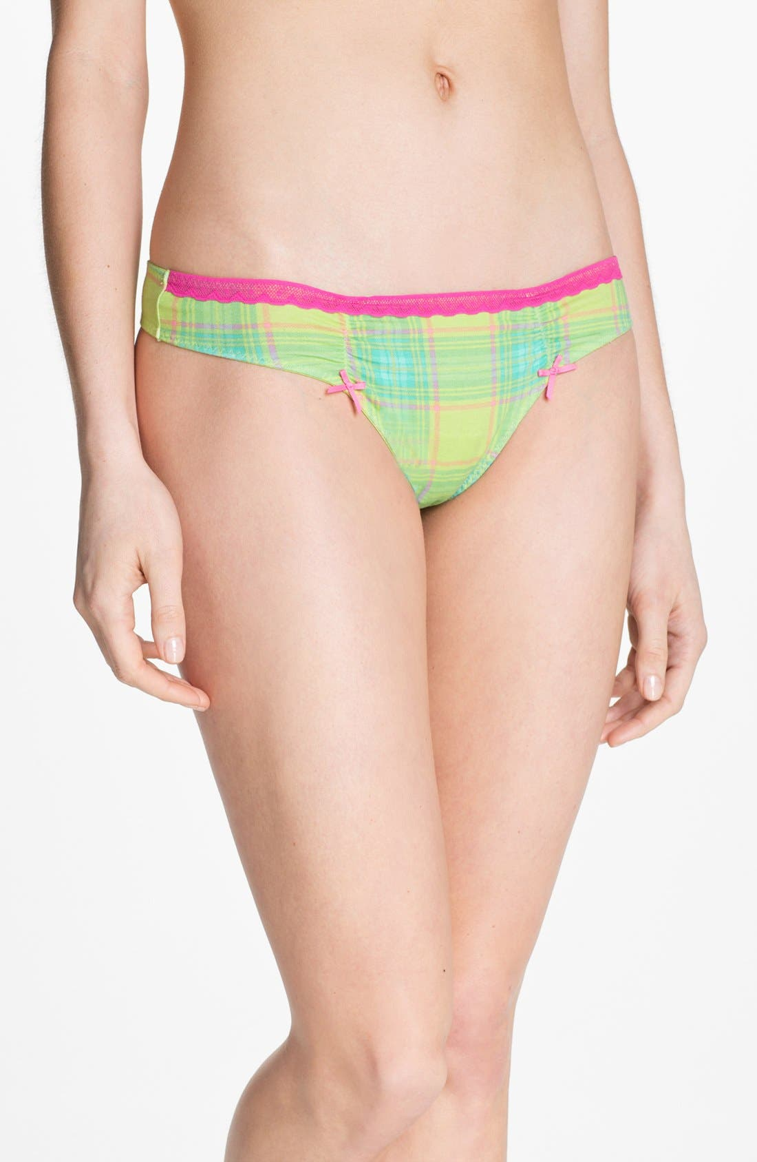 Alternate Image 1 Selected - Betsey Johnson Stretch Cotton Thong