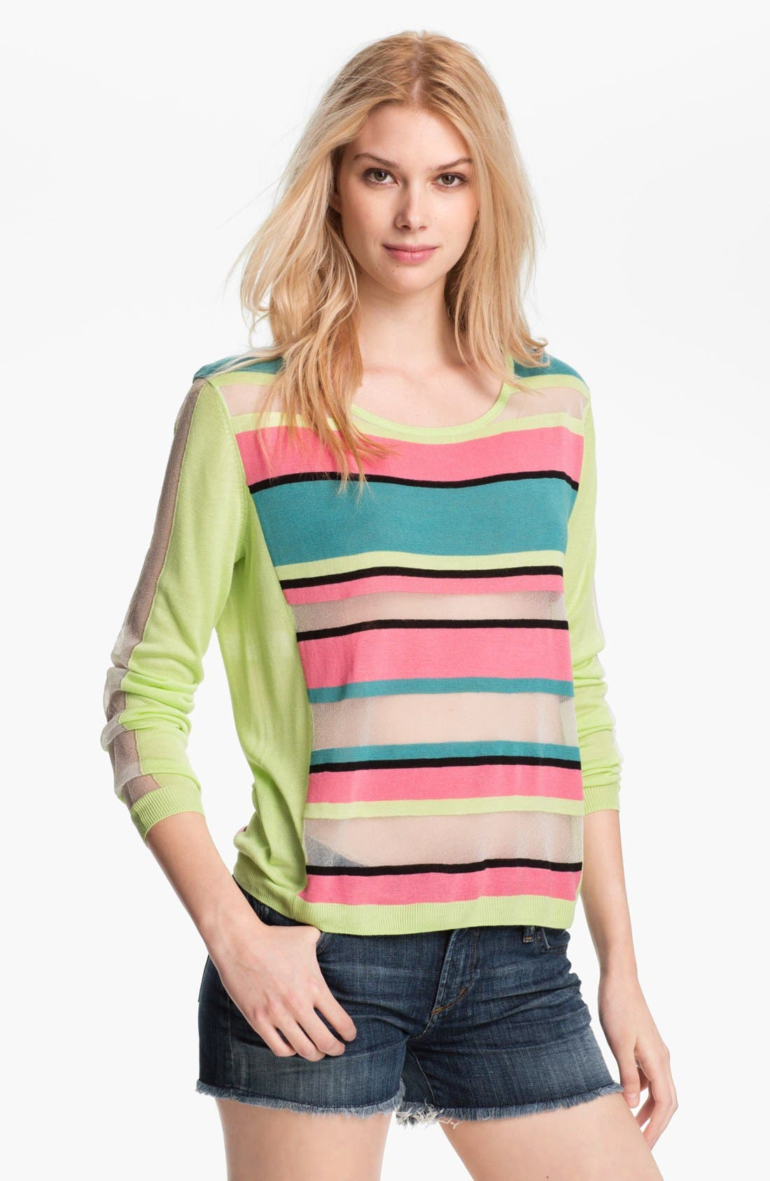 Alternate Image 1 Selected - Trouvé Neon Sheer Stripe Sweater
