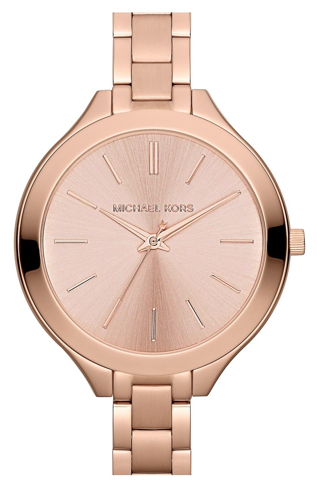 Alternate Image 1 Selected - Michael Kors 'Slim Runway' Thin Bracelet Watch, 42mm