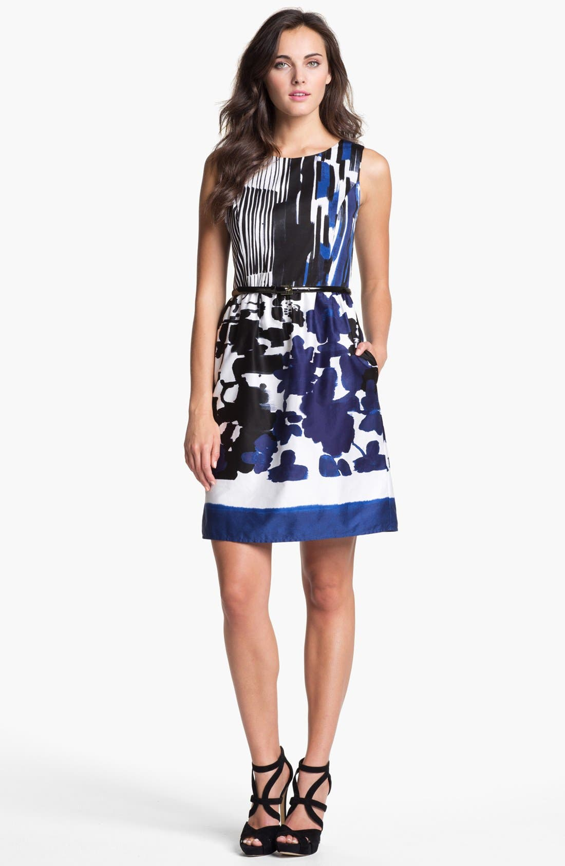Alternate Image 1 Selected - Ellen Tracy Print Cotton Fit & Flare Dress