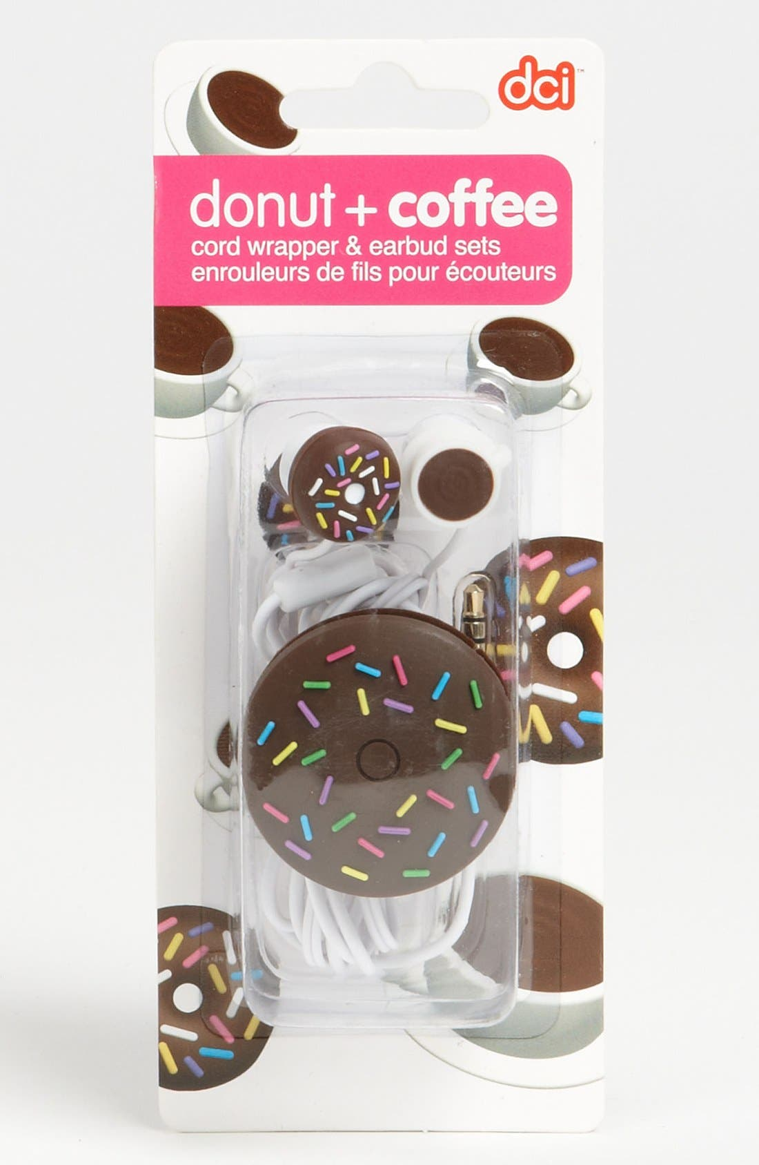 Alternate Image 1 Selected - DCI Donut/Coffee Earbuds & Cord Wrapper (Girls)