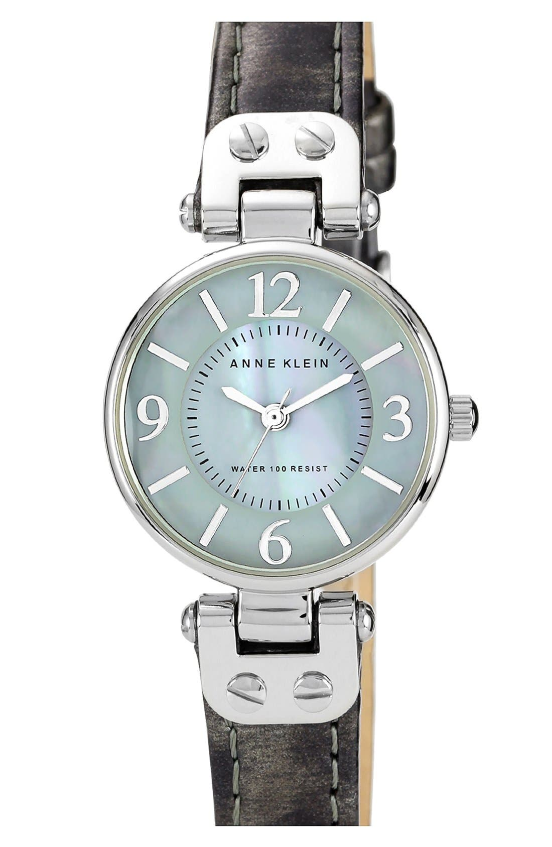 Alternate Image 1 Selected - Anne Klein Round Patent Leather Strap Watch, 26mm