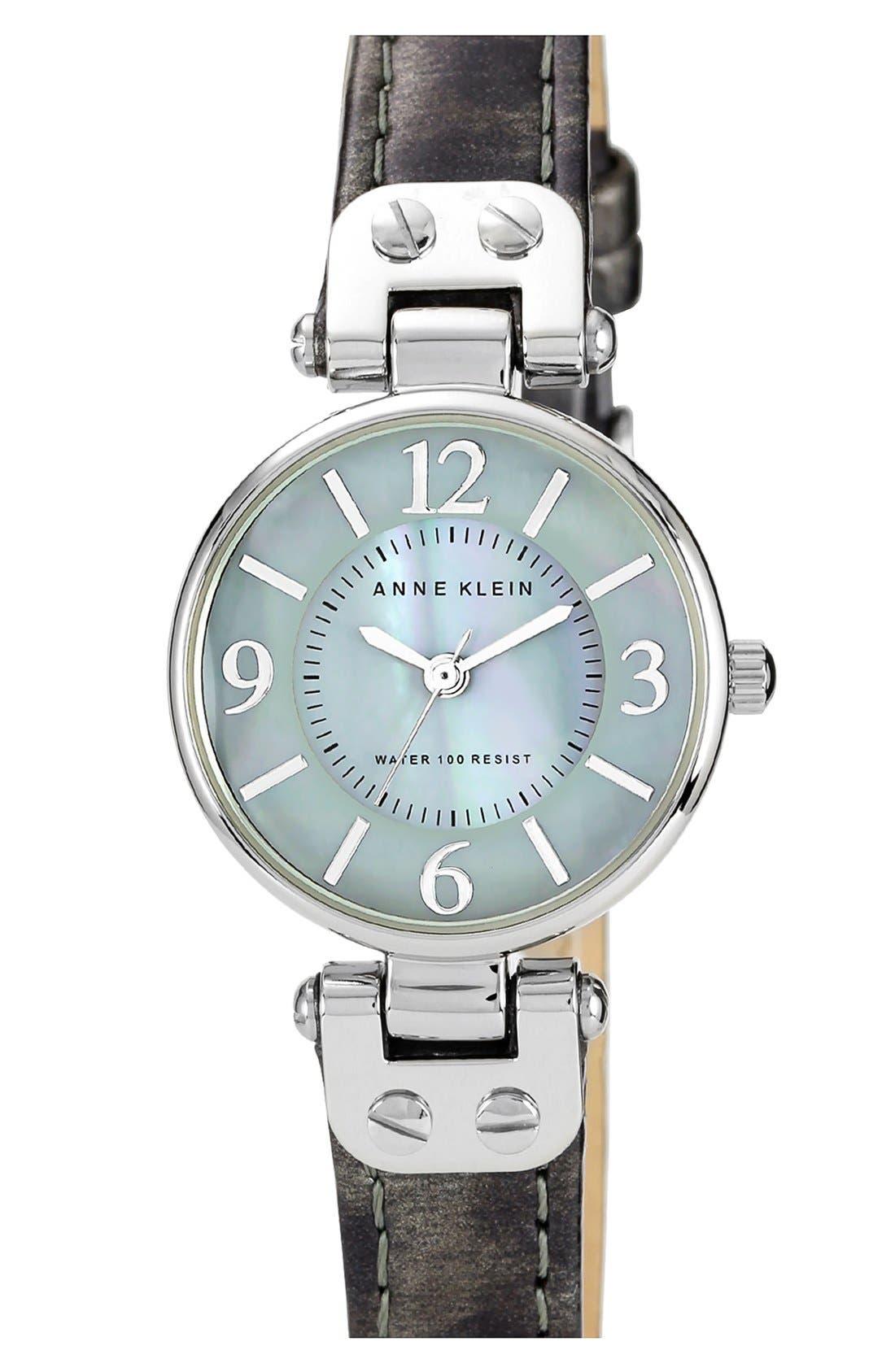 Main Image - Anne Klein Round Patent Leather Strap Watch, 26mm