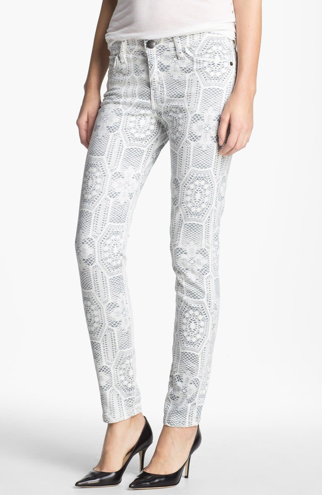 'The Ankle Skinny' Print Stretch Jeans,                         Main,                         color, Crochet