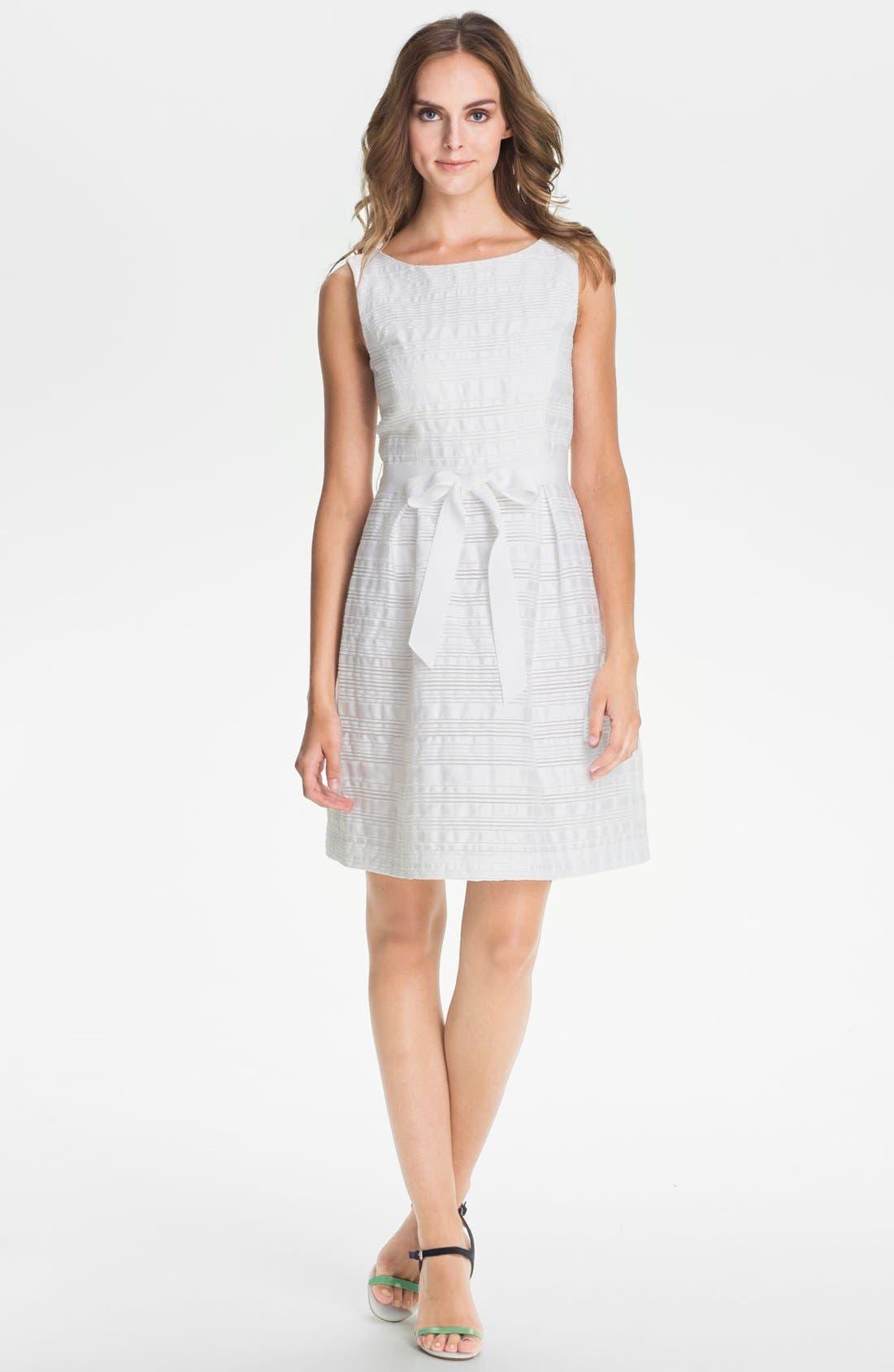 'Fru Fru' Stripe Fit & Flare Dress,                         Main,                         color, White Wash