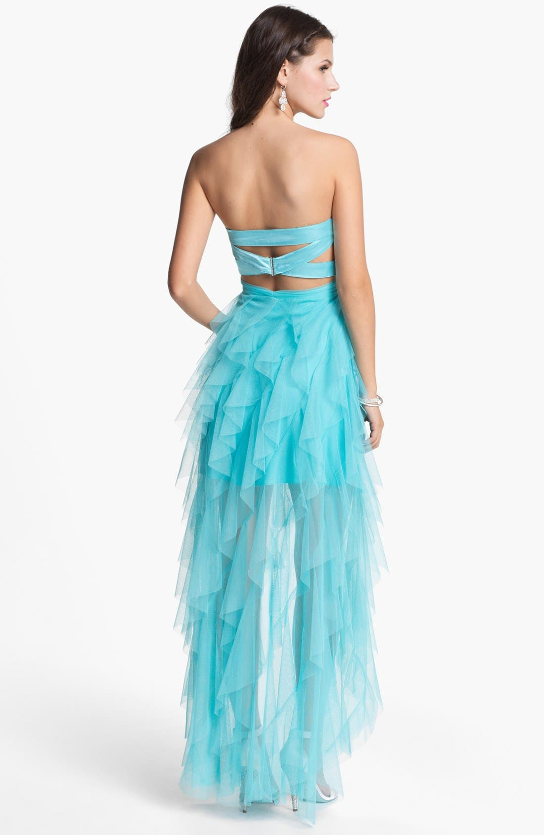 Alternate Image 2  - Hailey Logan Bandage Back High/Low Tulle Gown (Juniors)