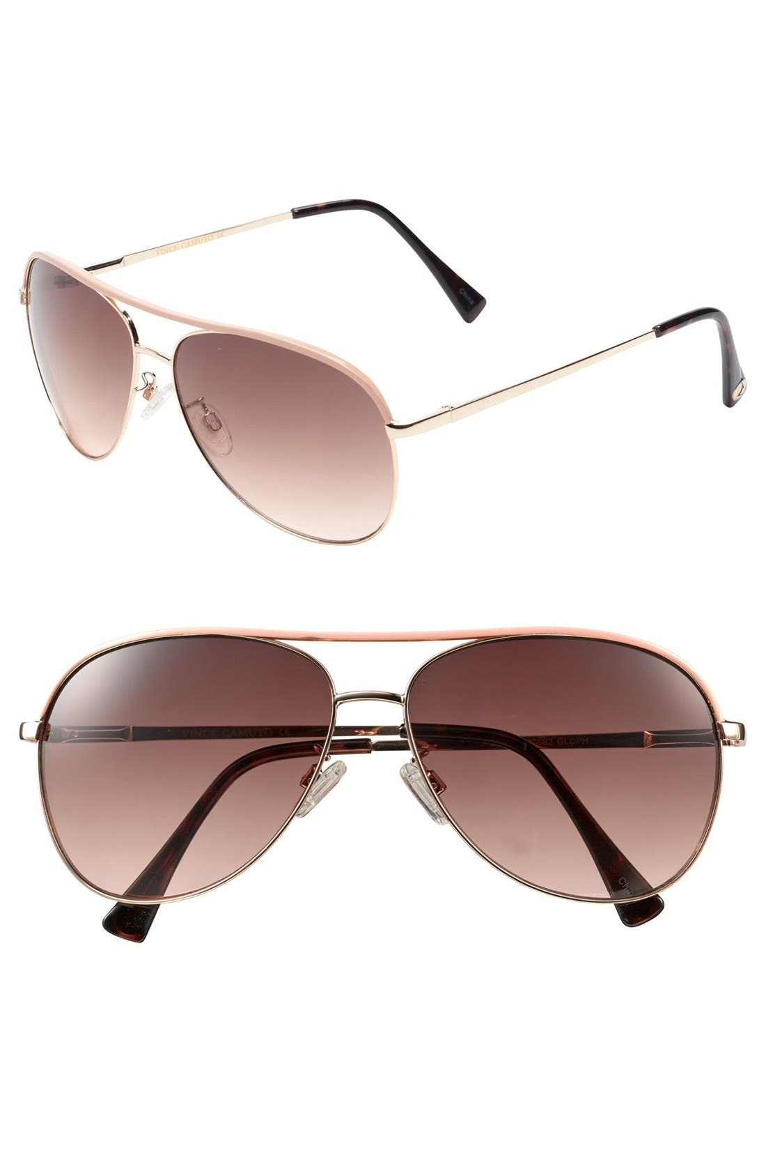 Alternate Image 1 Selected - Vince Camuto Metal 60mm Aviator Sunglasses (Online Only)