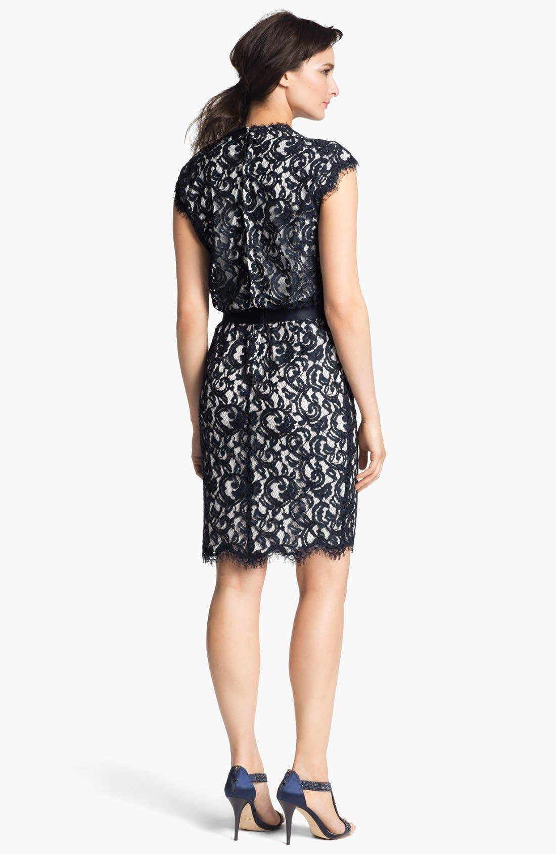 Alternate Image 2  - Tadashi Shoji Cap Sleeve Lace Blouson Dress