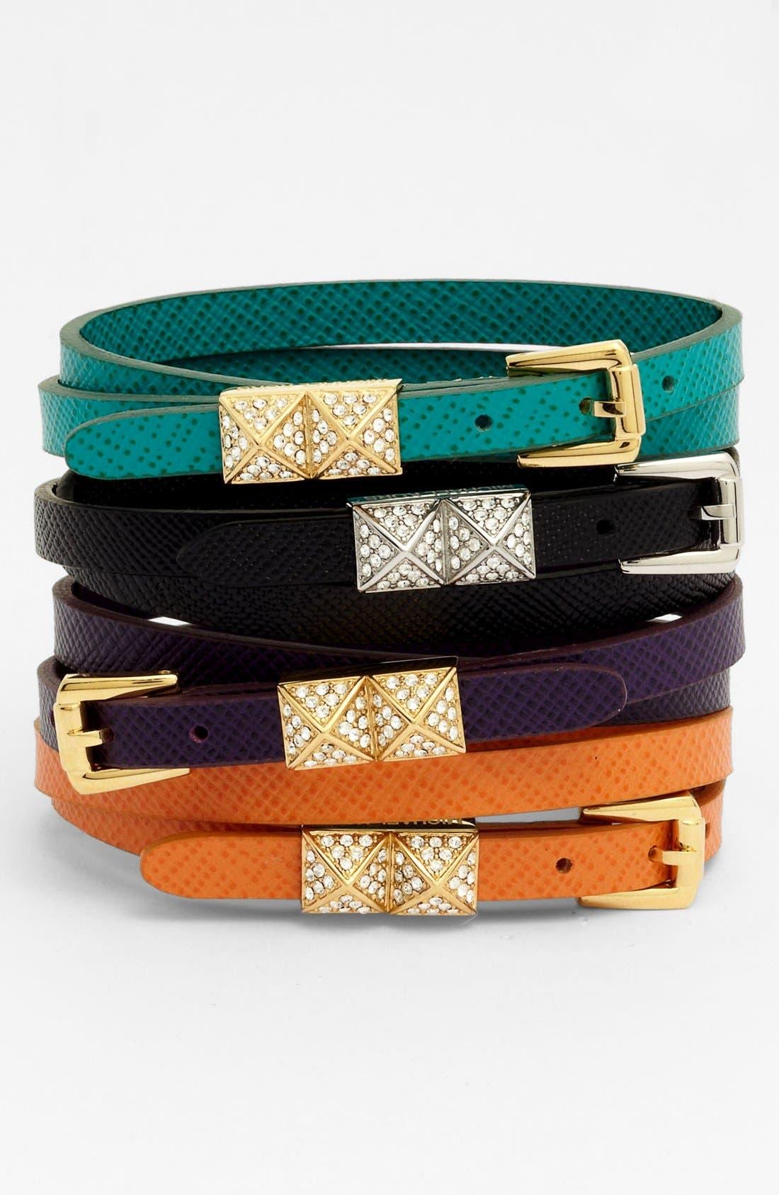 Michael Kors Leather Double Wrap Bracelet,                         Main,                         color,