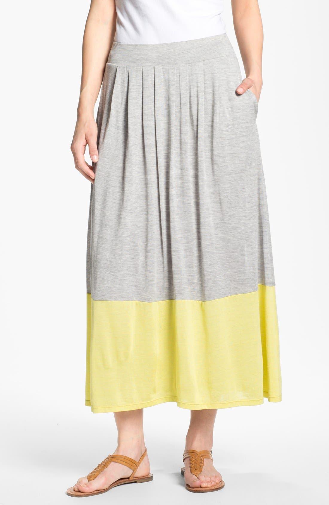 Alternate Image 1 Selected - Eileen Fisher Pleated Colorblock Midi Skirt (Regular & Petite)