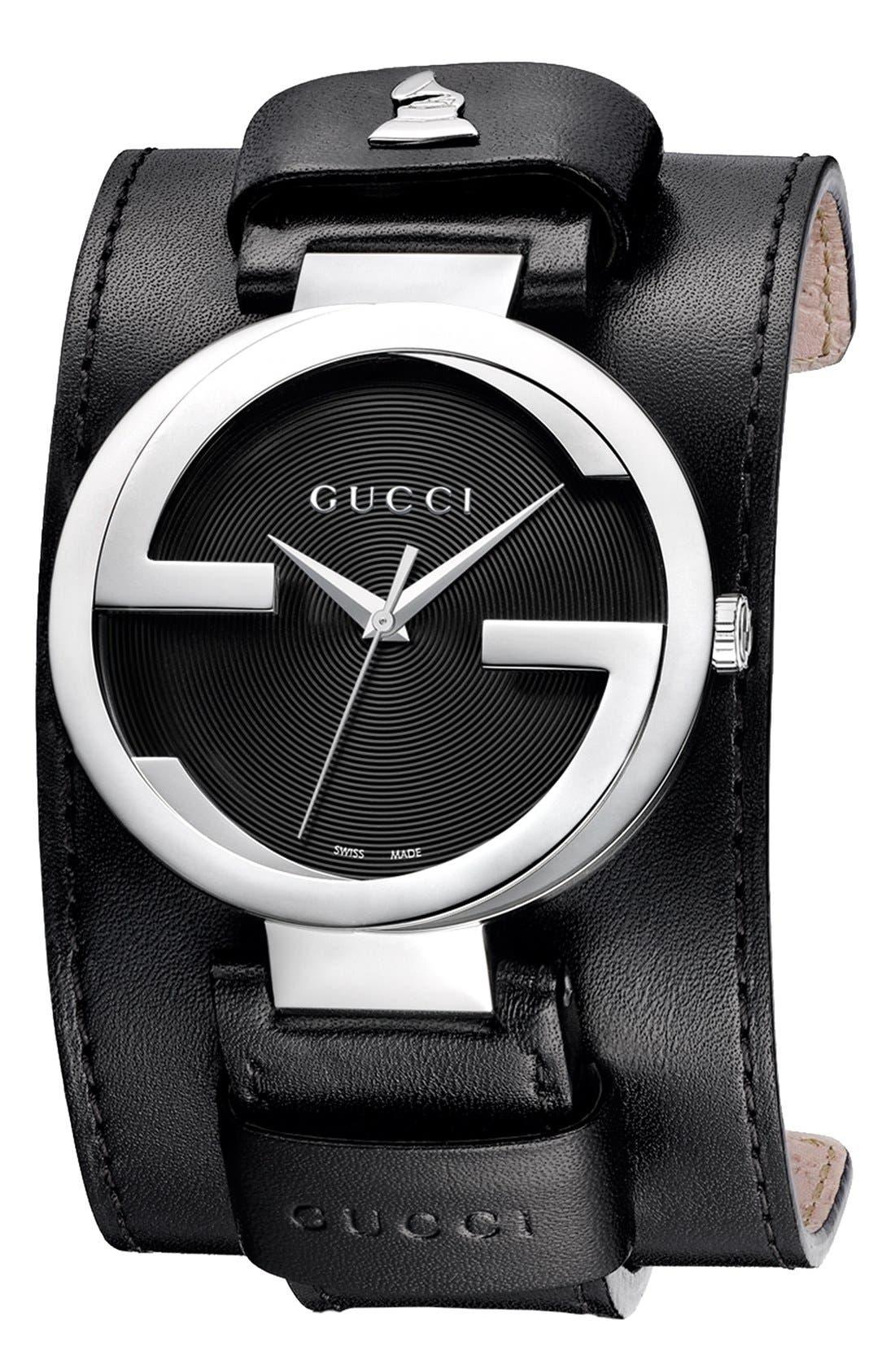 Alternate Image 1 Selected - Gucci 'Interlocking G - GRAMMY®' Leather Cuff Watch, 42mm